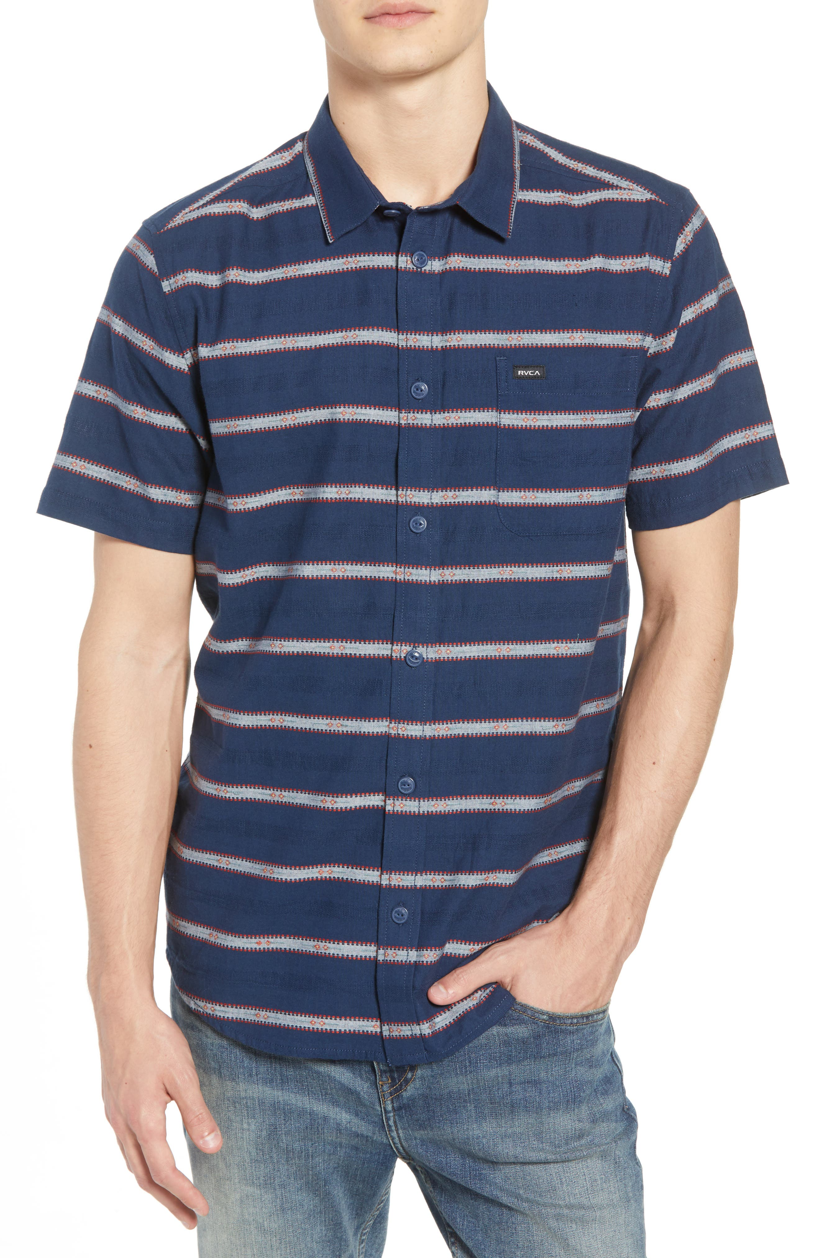 Outer Sunset Woven Shirt,                             Main thumbnail 1, color,                             SEATTLE BLUE