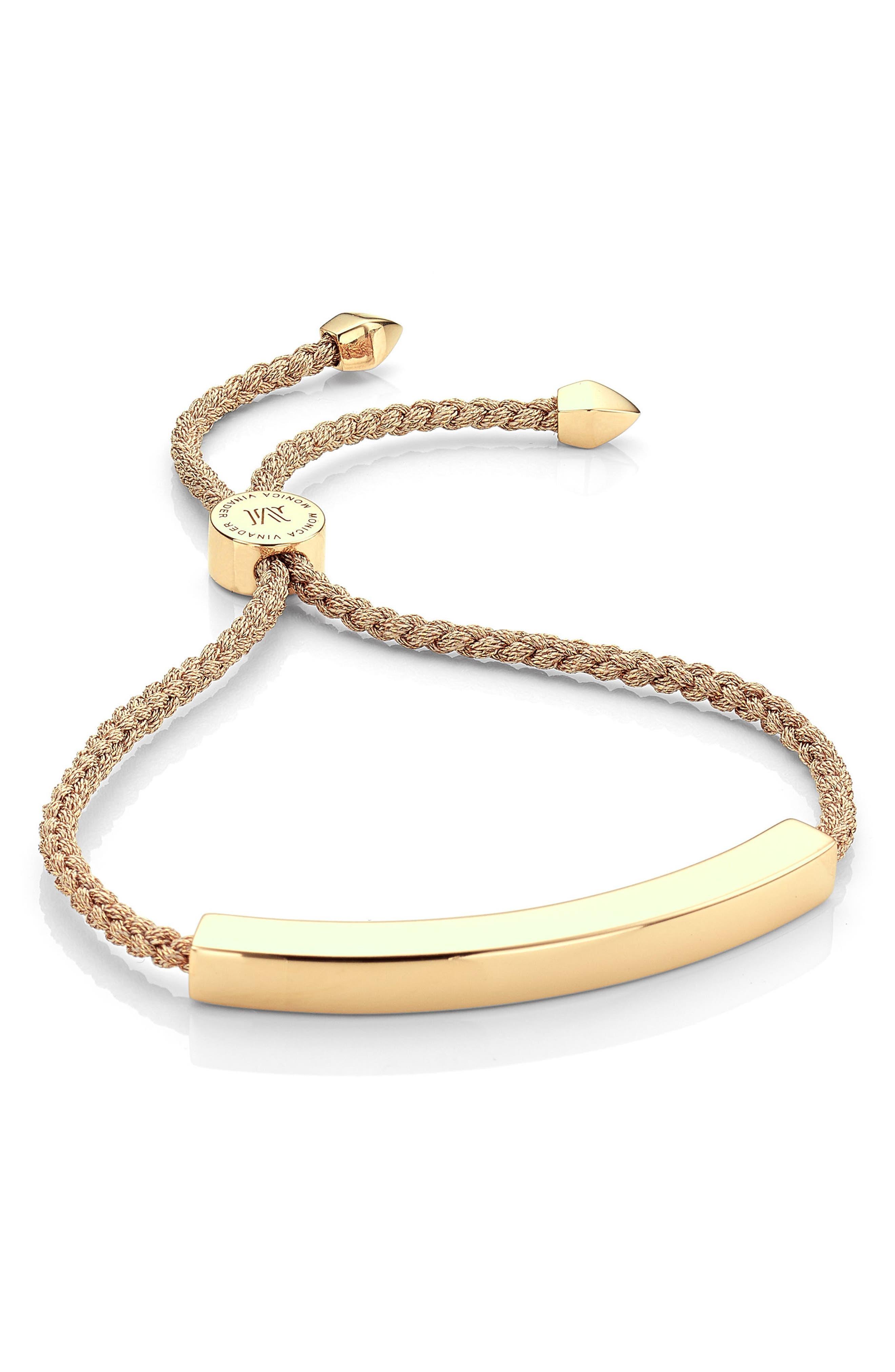 Engravable Linear Friendship Bracelet,                         Main,                         color, METALLIC/ YELLOW GOLD