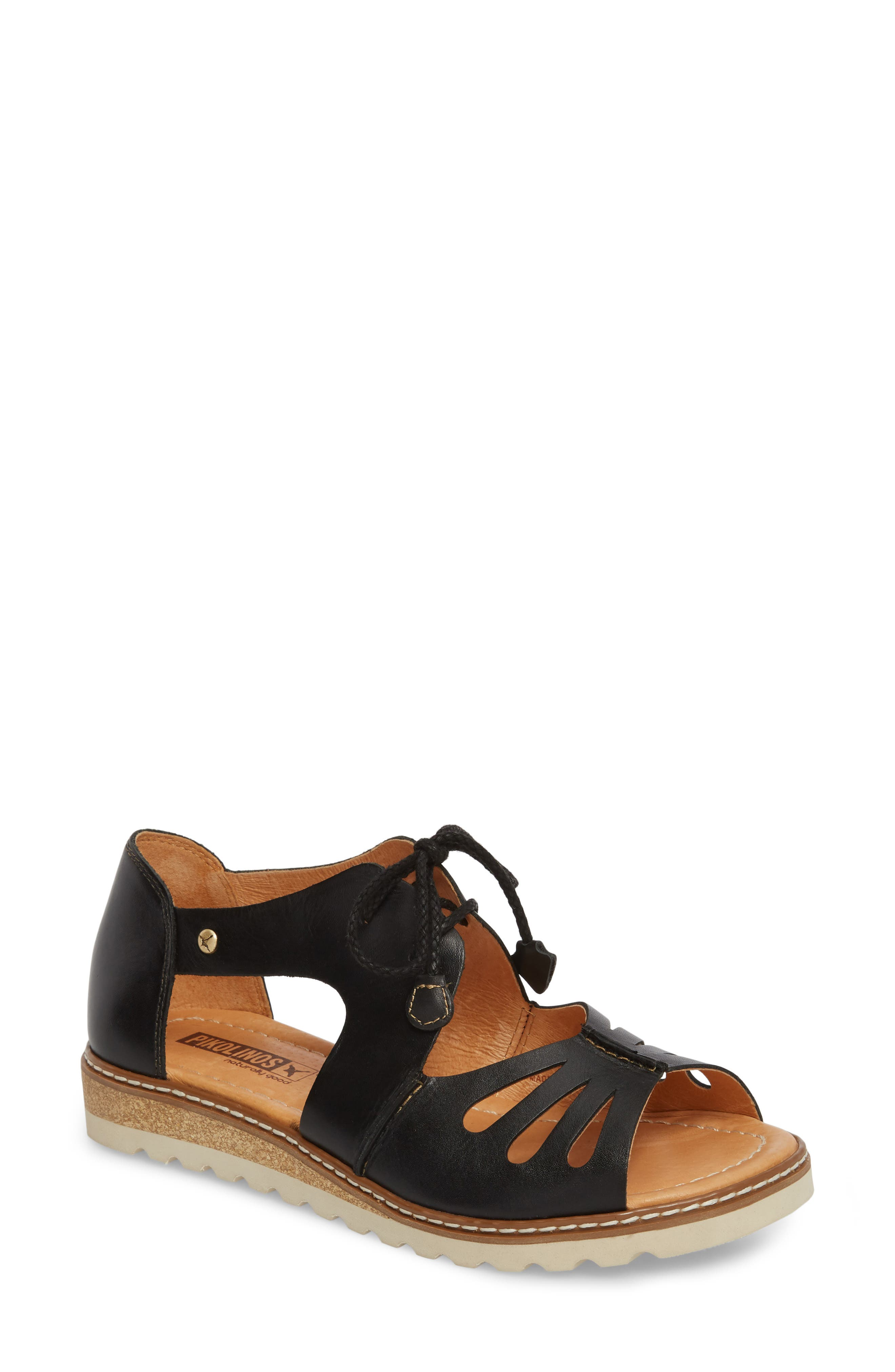 Alcudia Lace-Up Sandal,                         Main,                         color, BLACK LEATHER