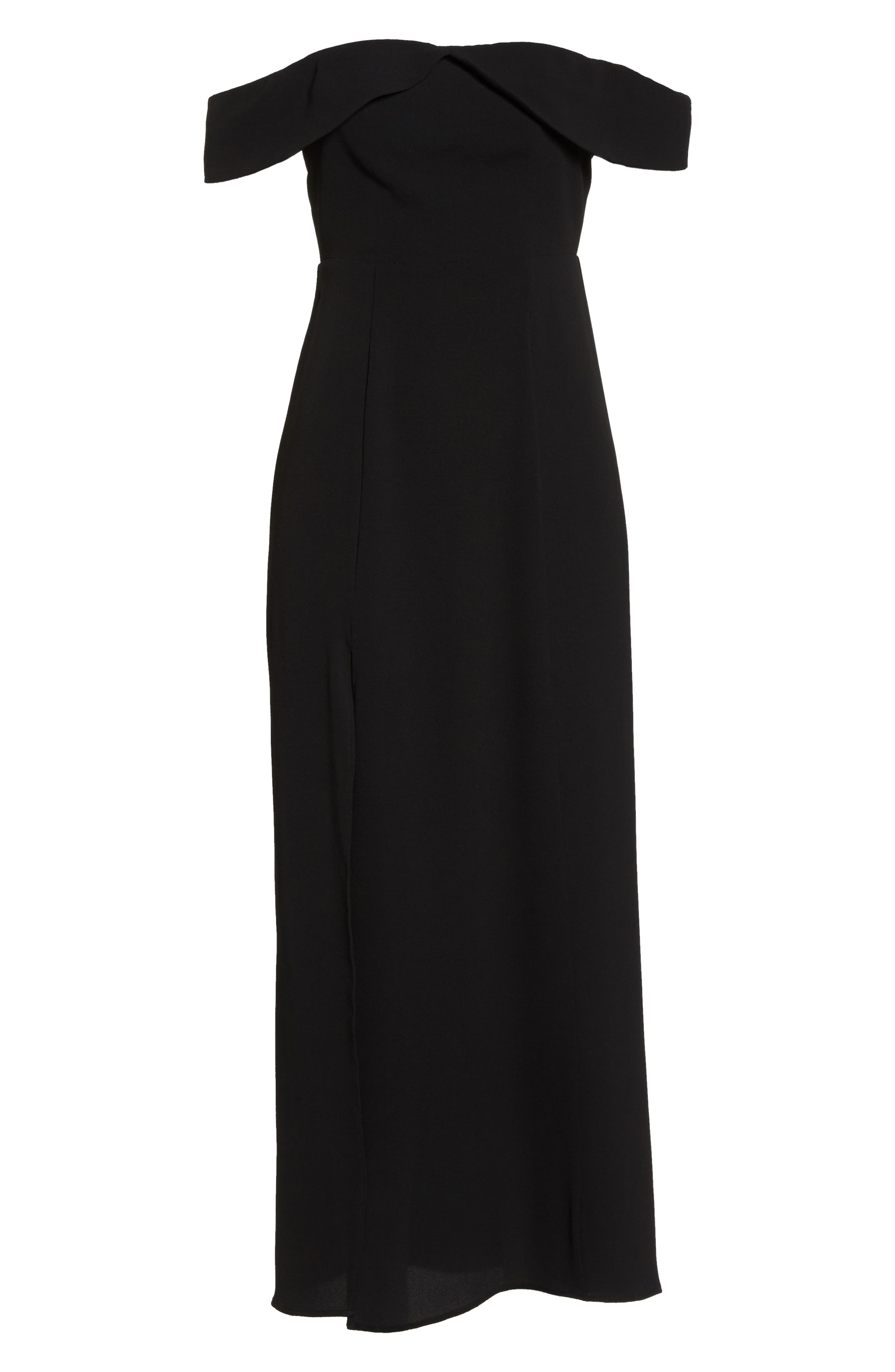 Upton Off the Shoulder Gown,                             Alternate thumbnail 7, color,                             BLACK CRINKLE STRETCH