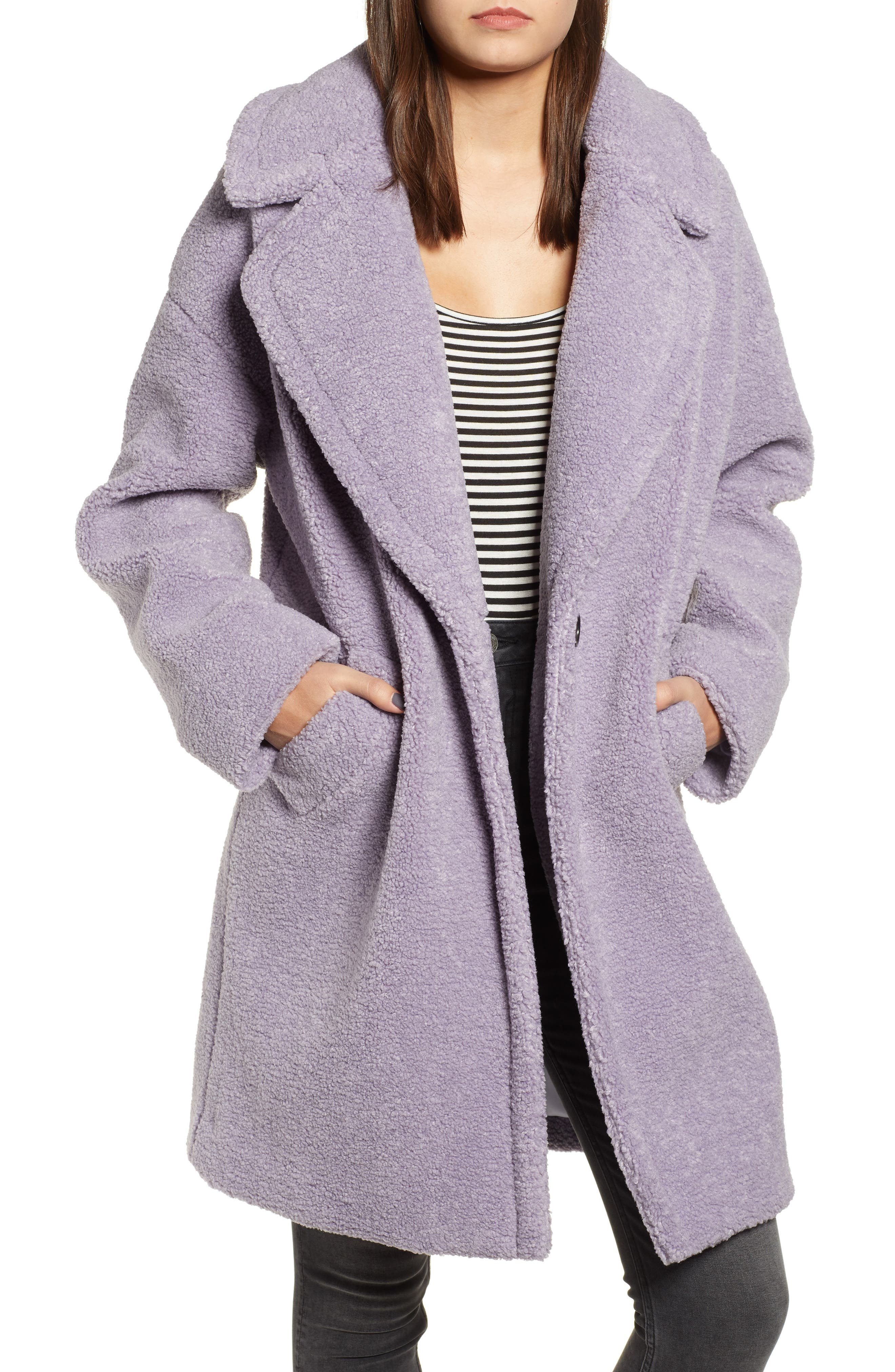 Faux Fur Teddy Coat,                         Main,                         color, LILAC