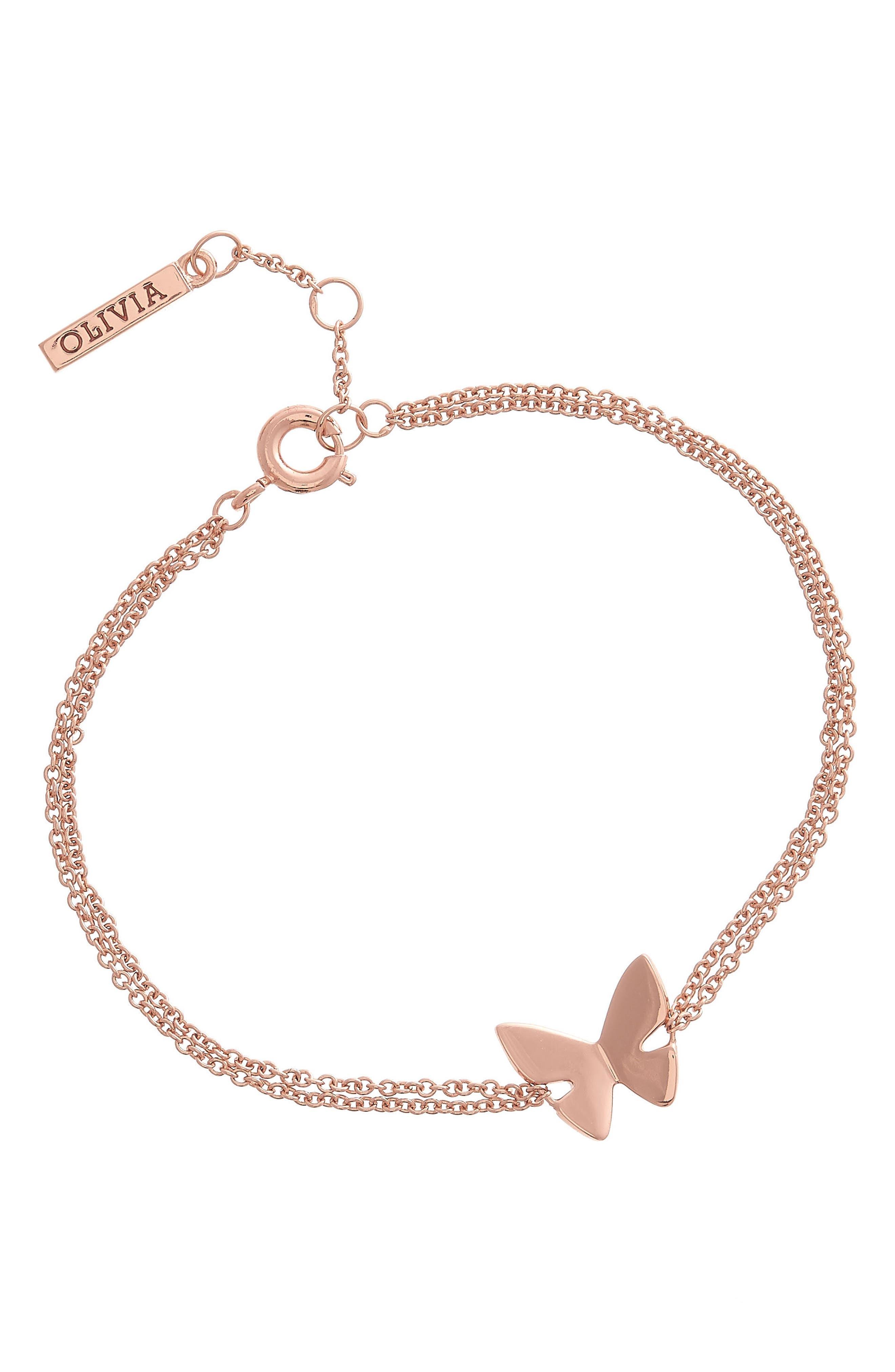 Social Butterfly Chain Bracelet,                             Alternate thumbnail 3, color,                             ROSE GOLD