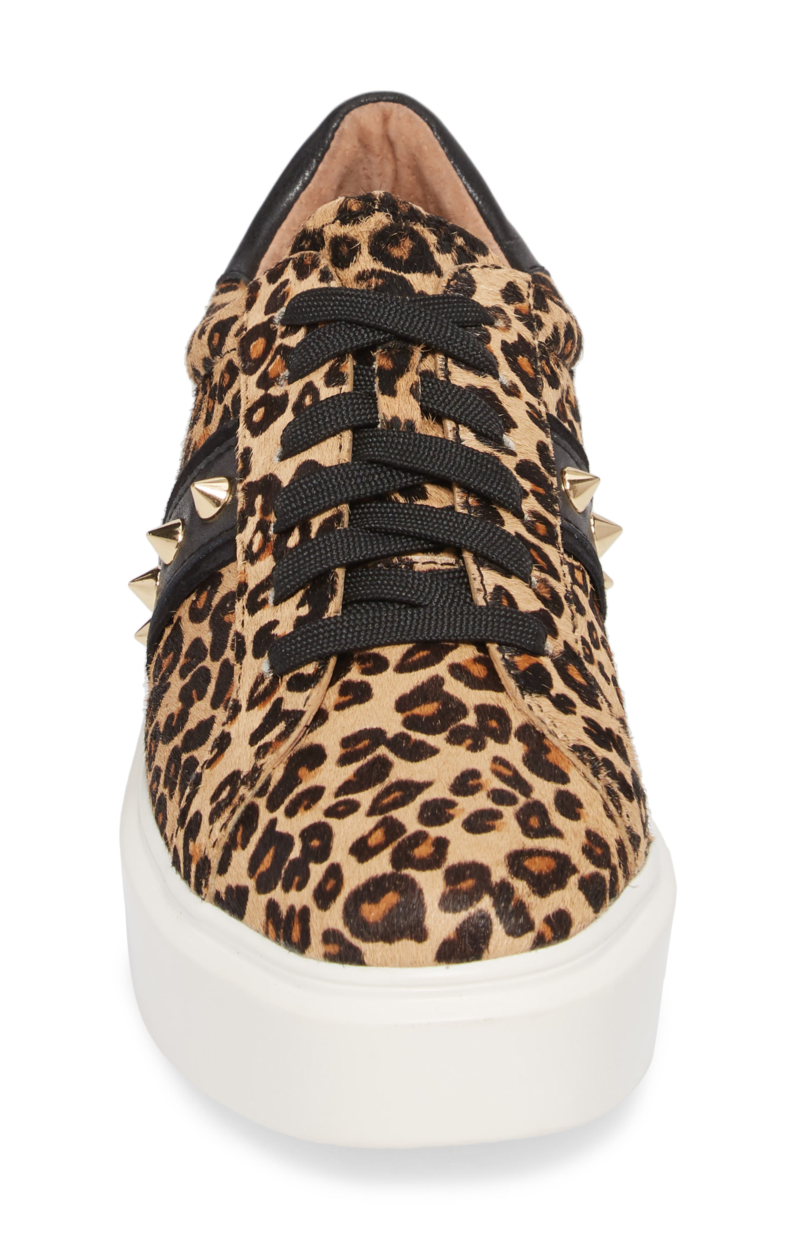 LINEA PAOLO,                             Knox II Platform Genuine Calf Hair Sneaker,                             Alternate thumbnail 4, color,                             LEOPARD PRINT HAIR CALF