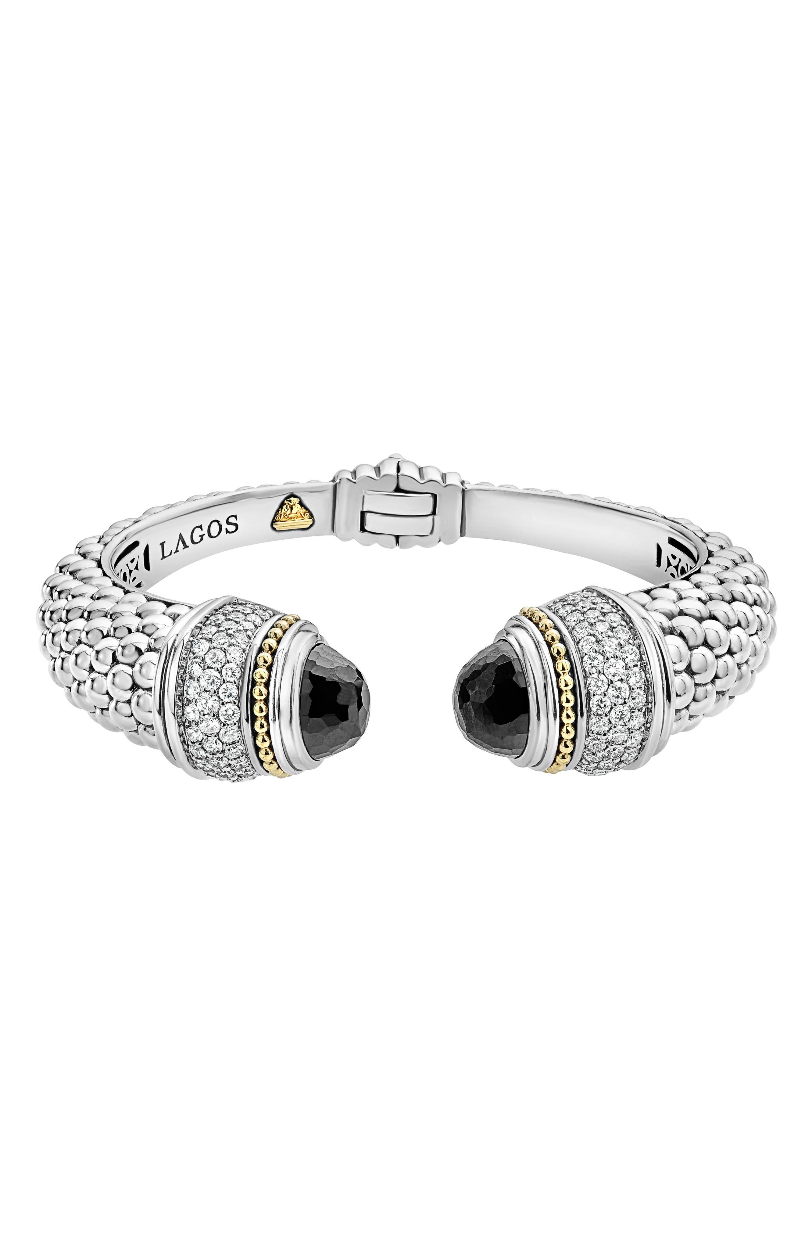 Caviar Diamond & Semiprecious Stone Wrist Cuff,                             Main thumbnail 1, color,                             BLACK SPINEL