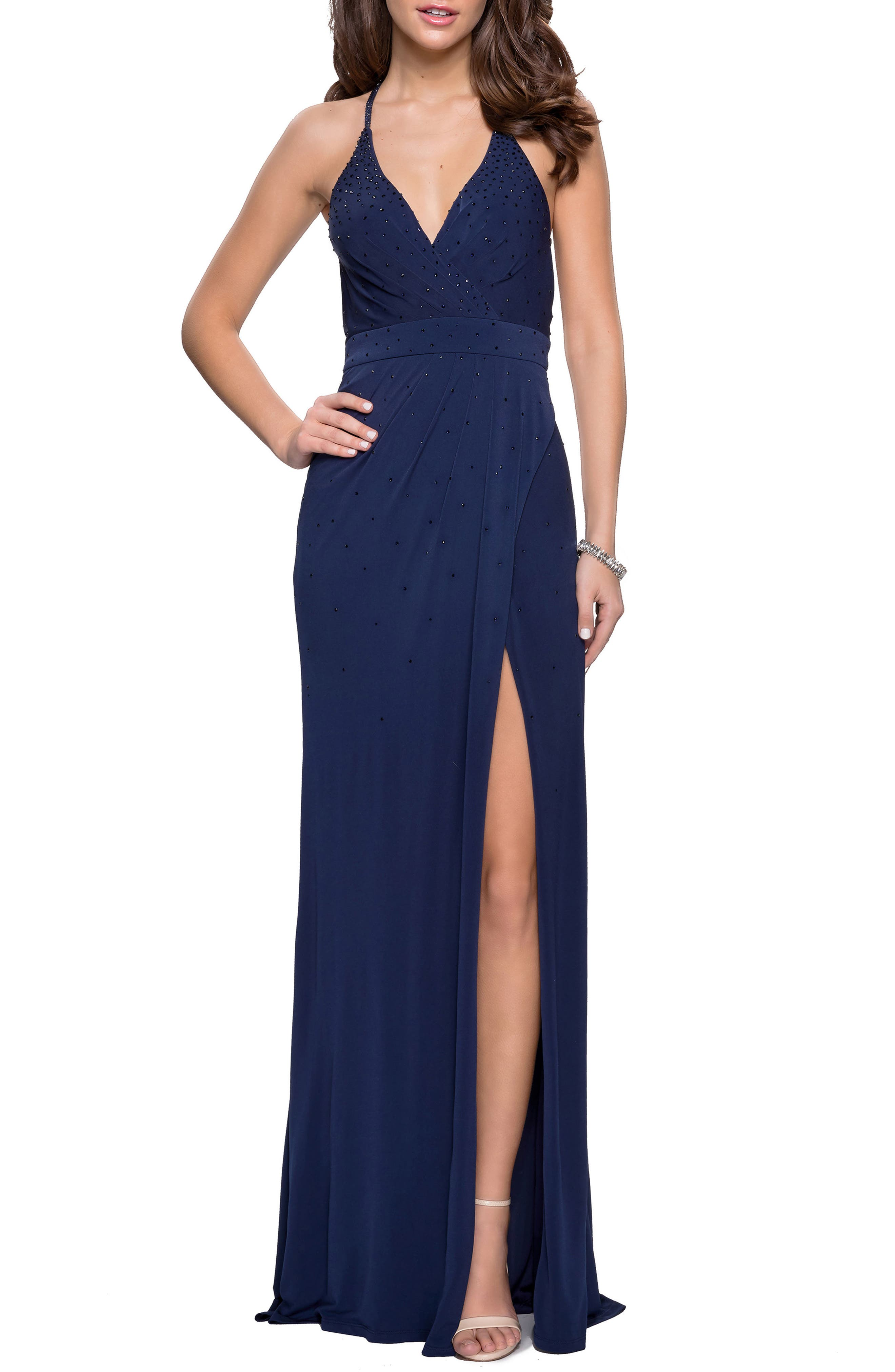 La Femme Studded Pleated Gown, Blue