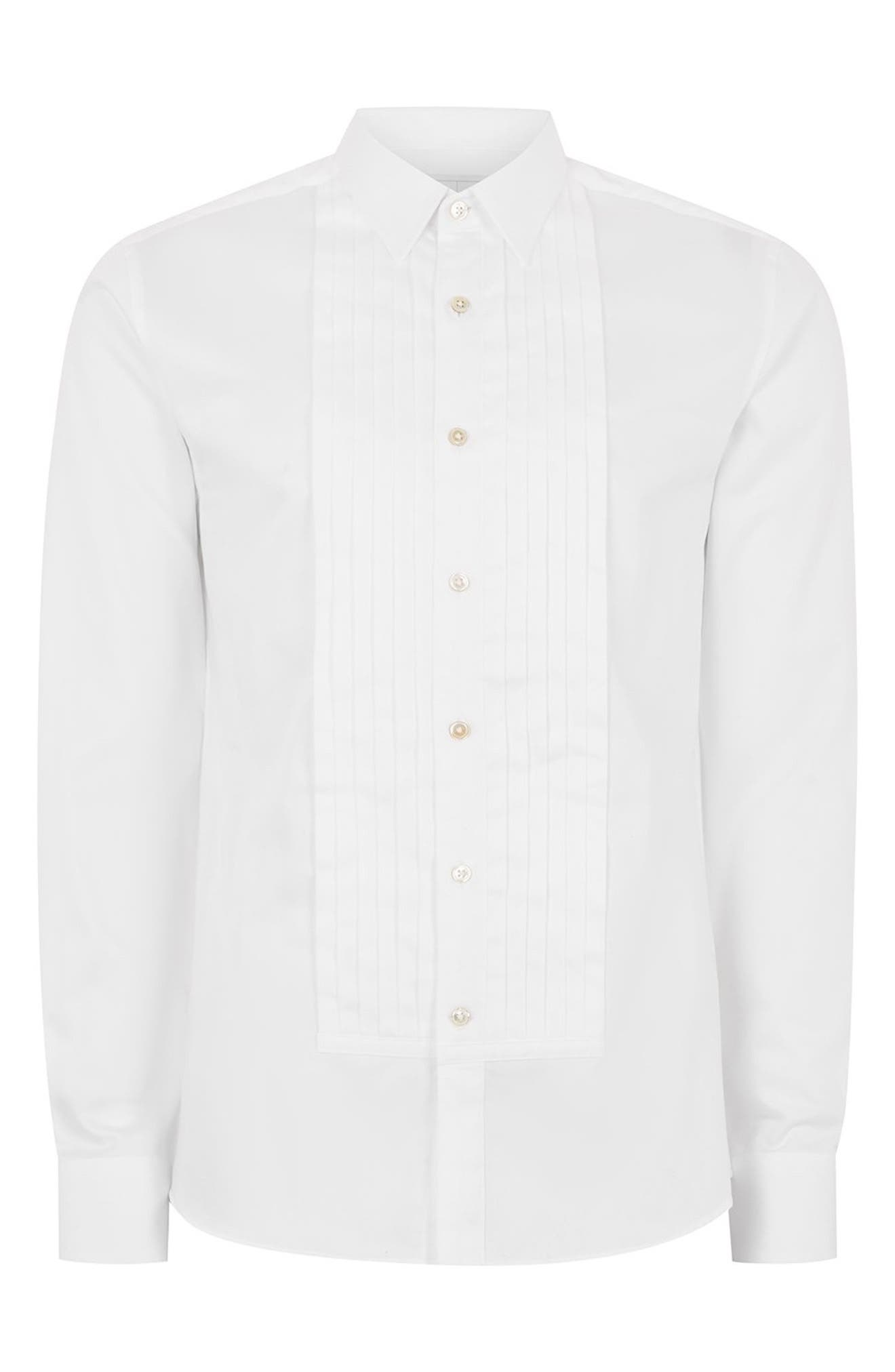 Pleated Tuxedo Shirt,                             Alternate thumbnail 4, color,                             WHITE