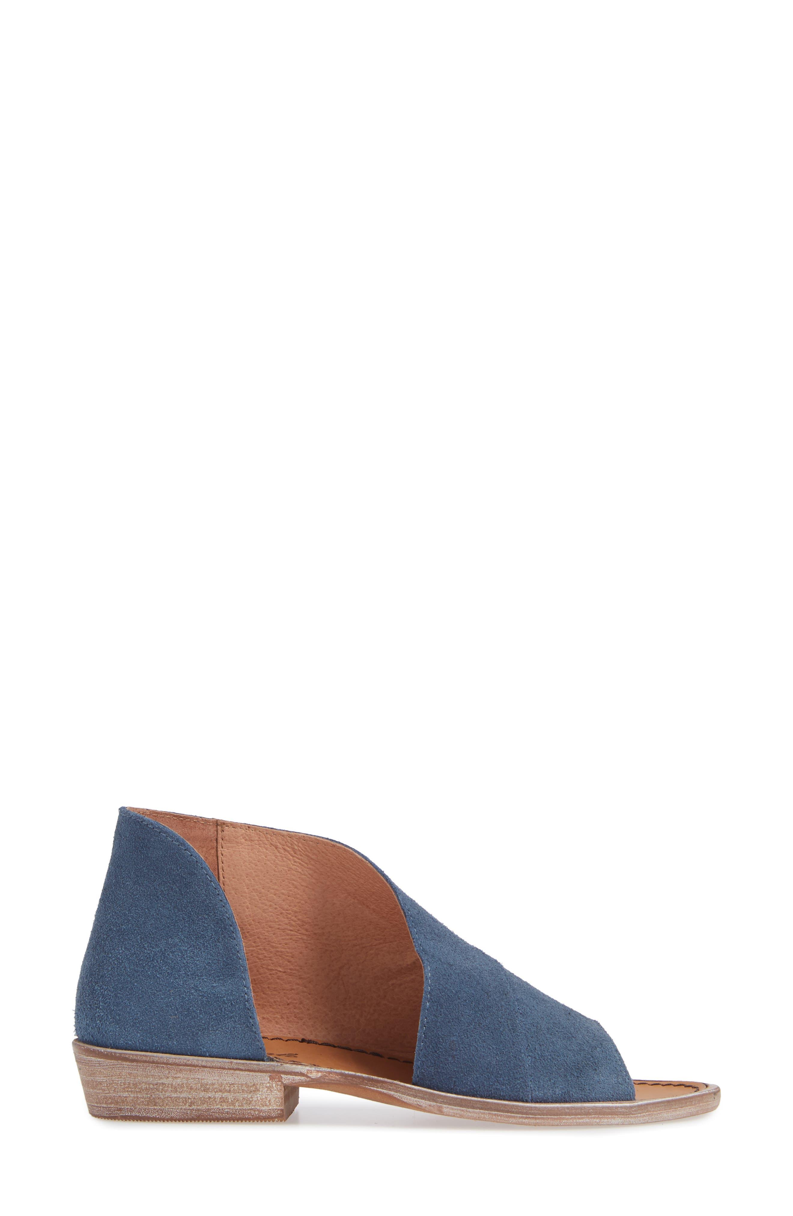 'Mont Blanc' Asymmetrical Sandal,                             Alternate thumbnail 3, color,                             BLUE SUEDE