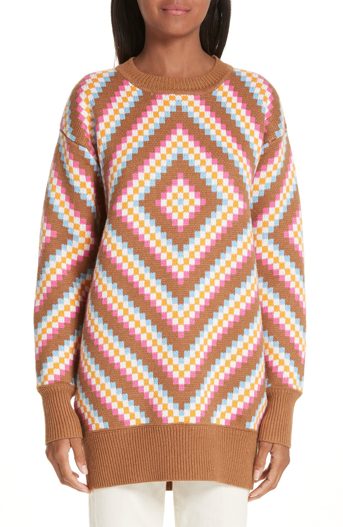 VICTOR GLEMAUD Diamond Patterned Sweater in Sand And Pink Combo