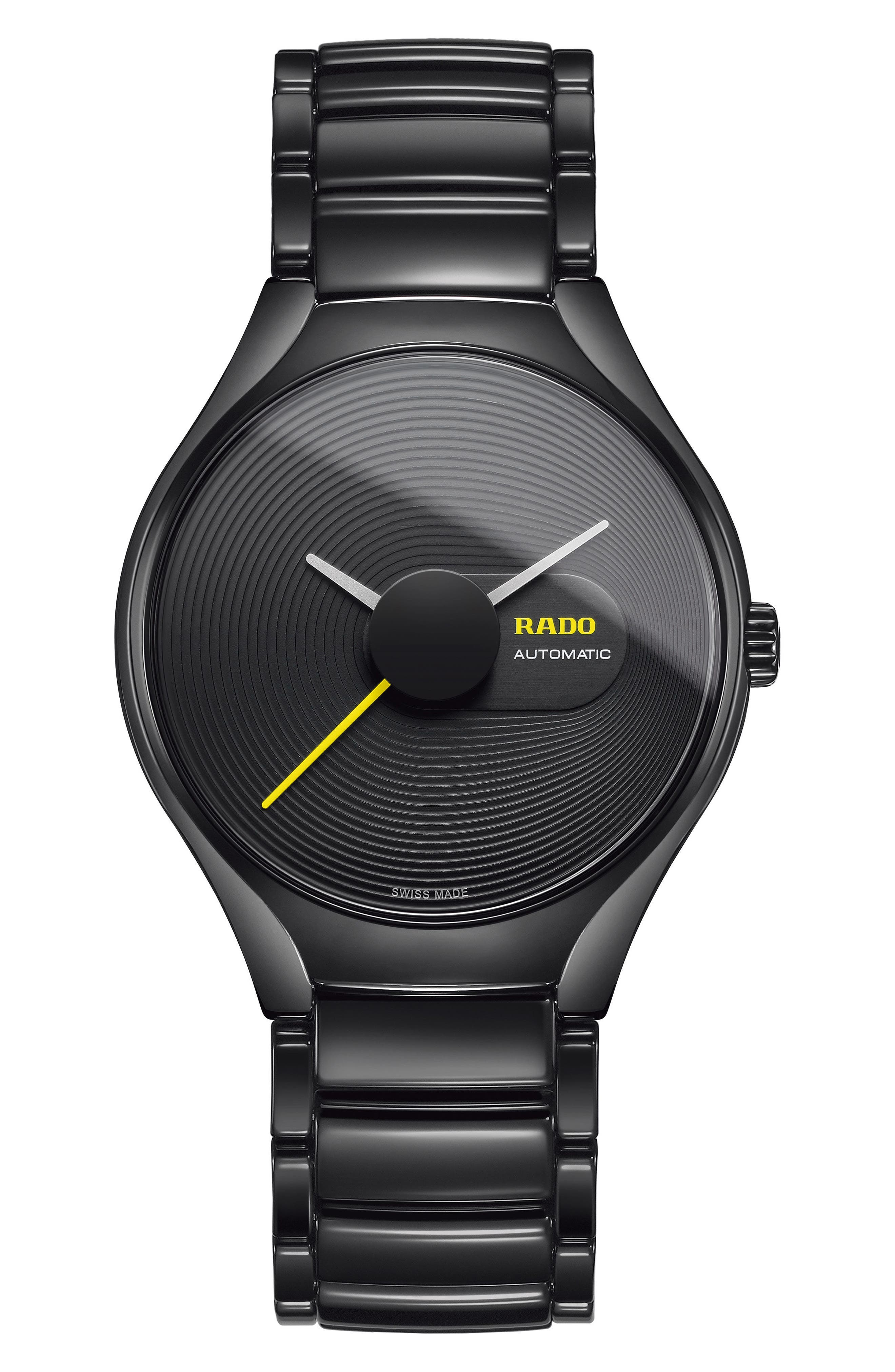 RADO True Stratum Ceramic Watch, 40mm, Main, color, BLACK