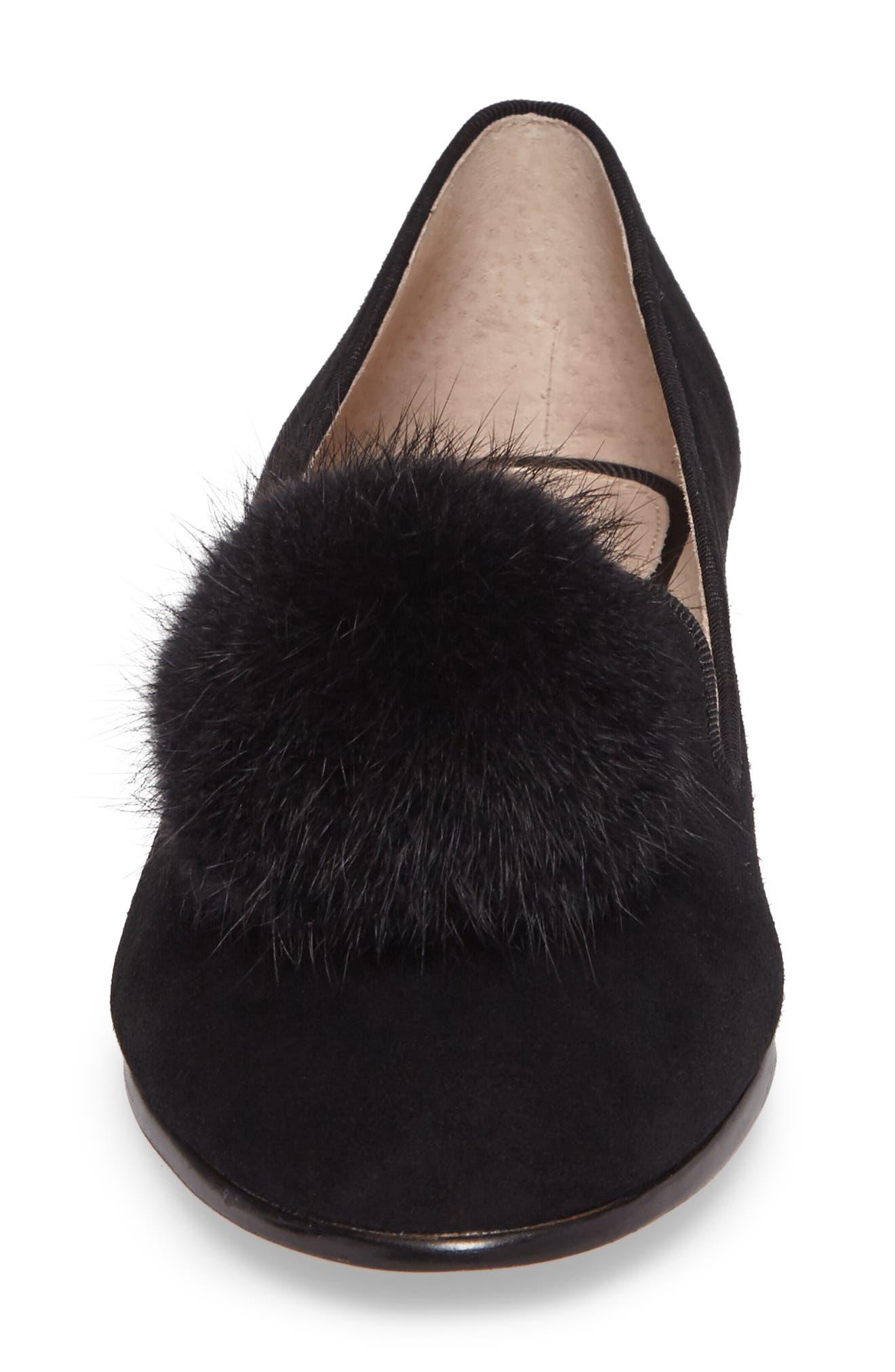 Andres Genuine Rabbit Fur Pom Loafer,                             Alternate thumbnail 4, color,                             BLACK SUEDE