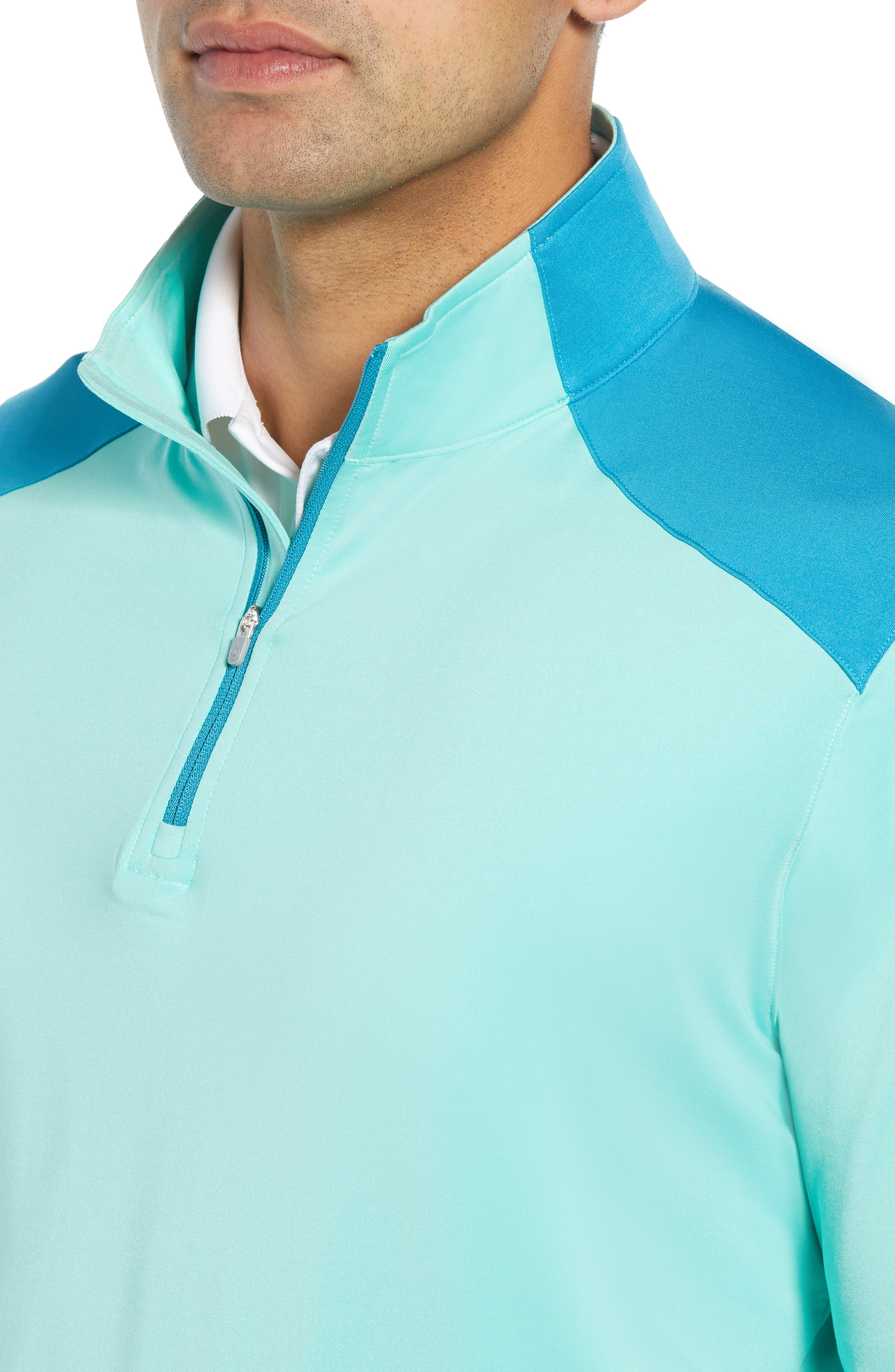 Quarter Zip Performance Pullover,                             Alternate thumbnail 4, color,                             TEAL