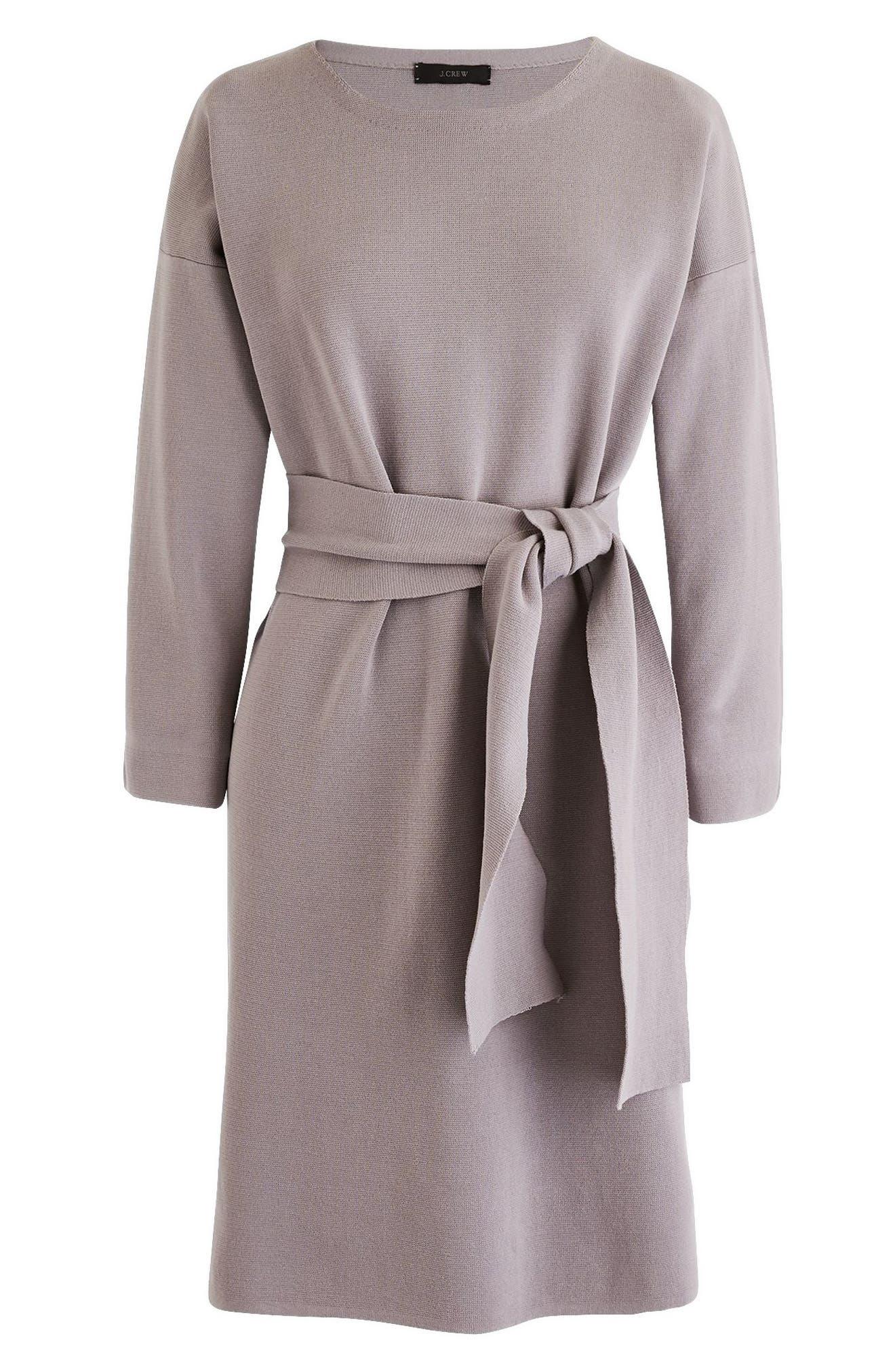 Tie Waist Knit Dress,                             Main thumbnail 1, color,                             020