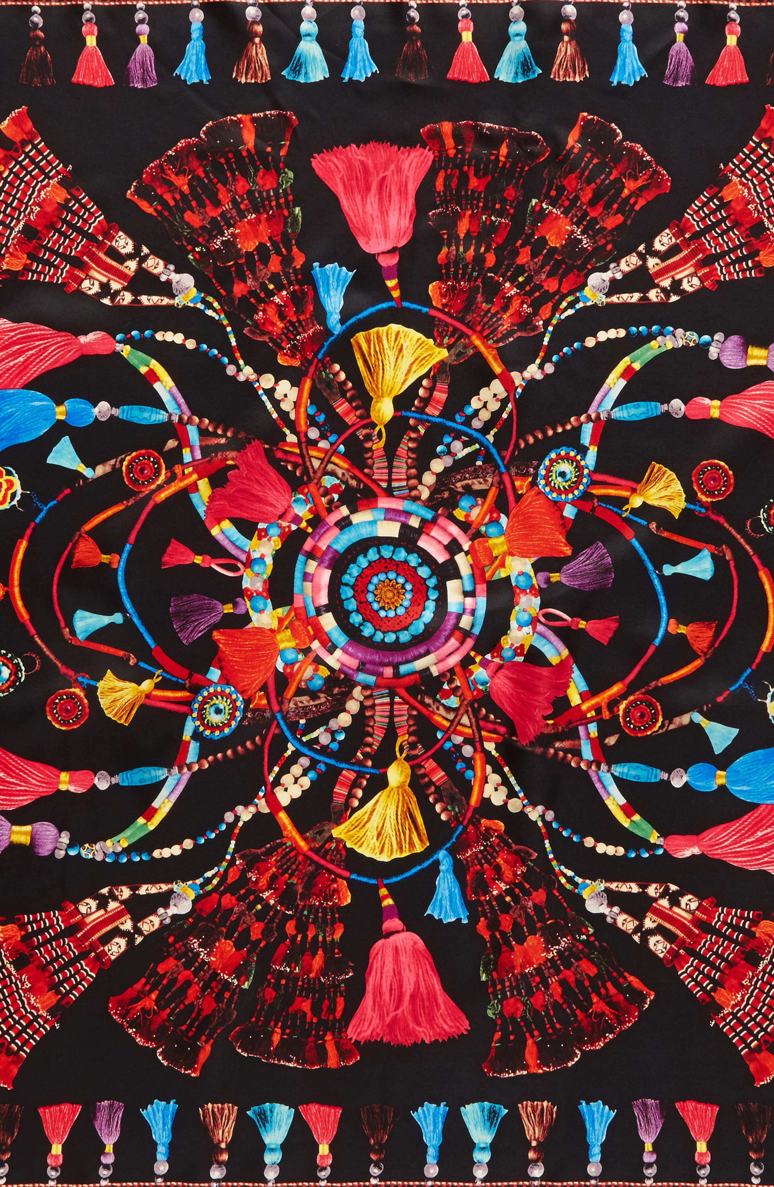 Tassel Rhapsody Silk Scarf,                             Alternate thumbnail 4, color,                             001