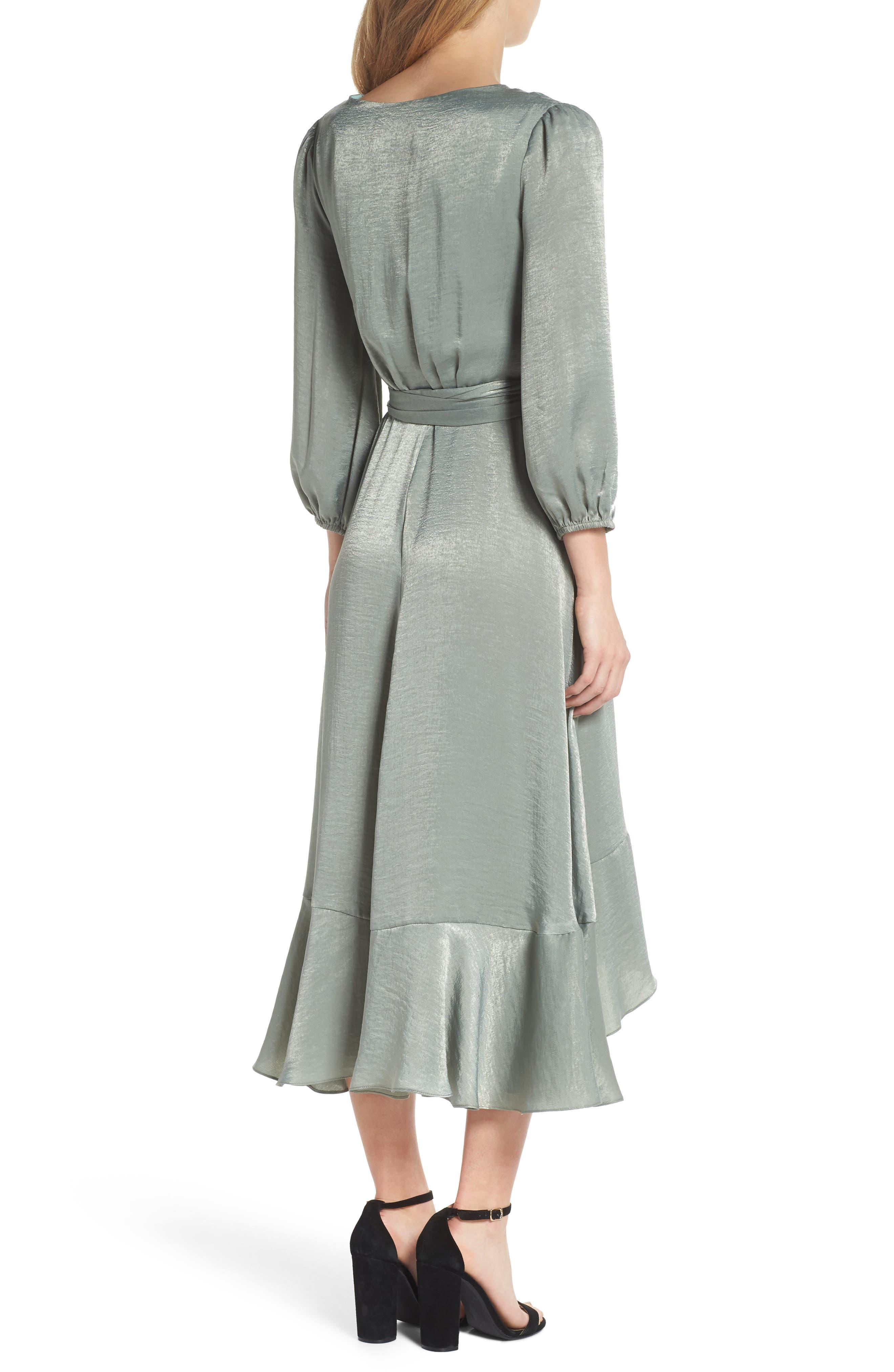 Jennifer Shimmer Satin Wrap Dress,                             Alternate thumbnail 2, color,                             321