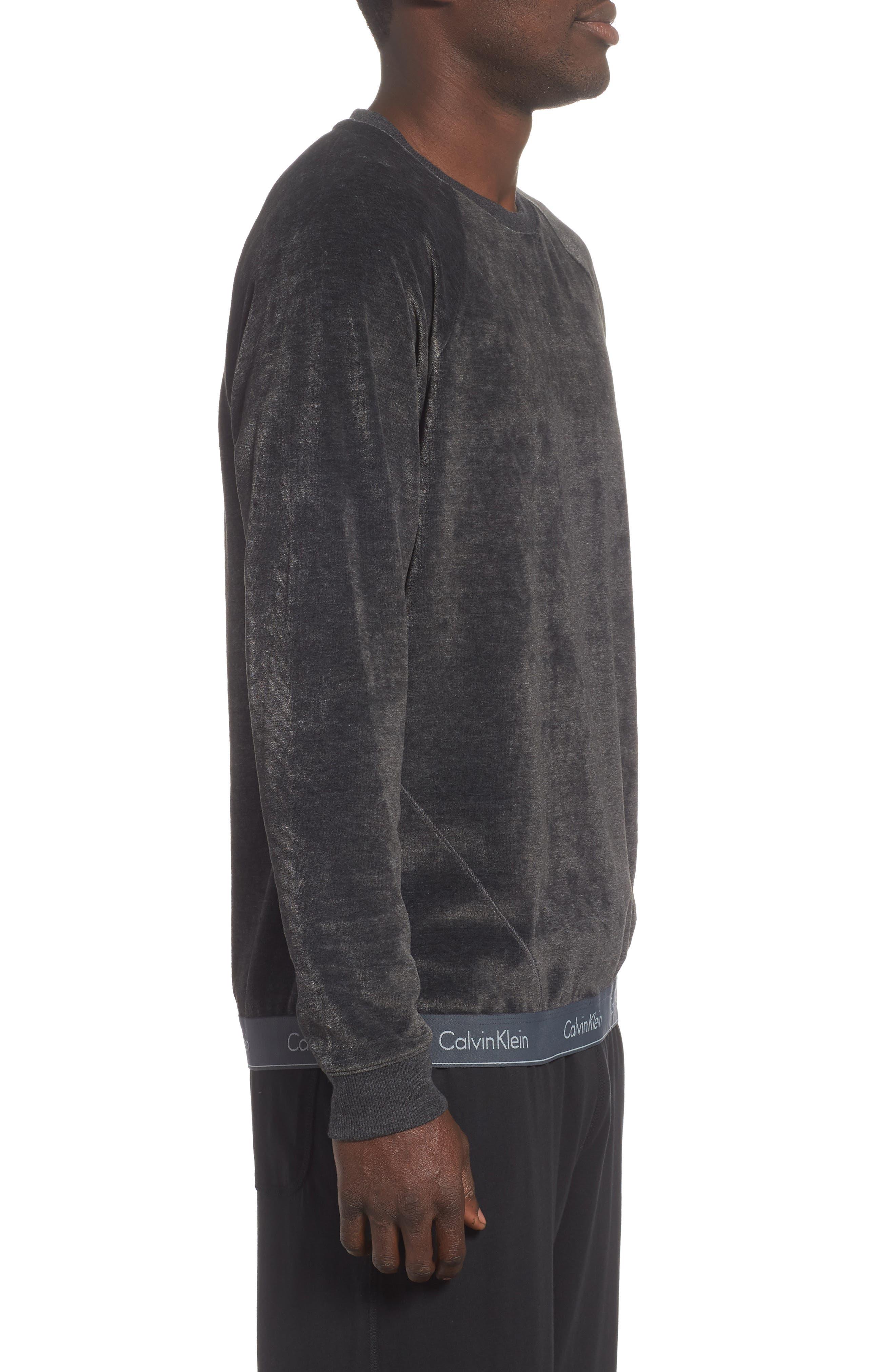 Crewneck Sweatshirt,                             Alternate thumbnail 3, color,                             WASHED BLACK