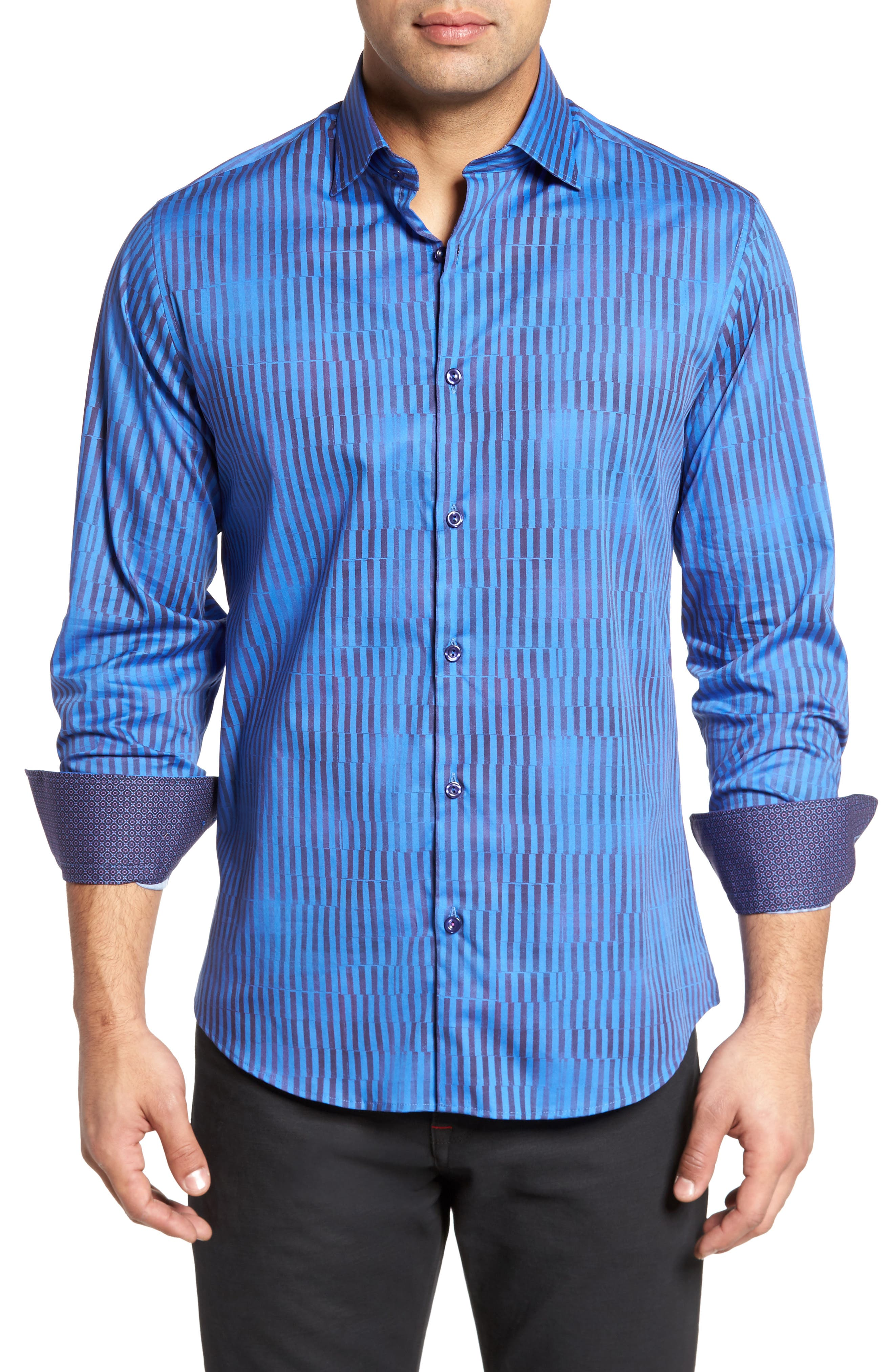 Bold FX Stripe Print Sport Shirt,                         Main,                         color, 430