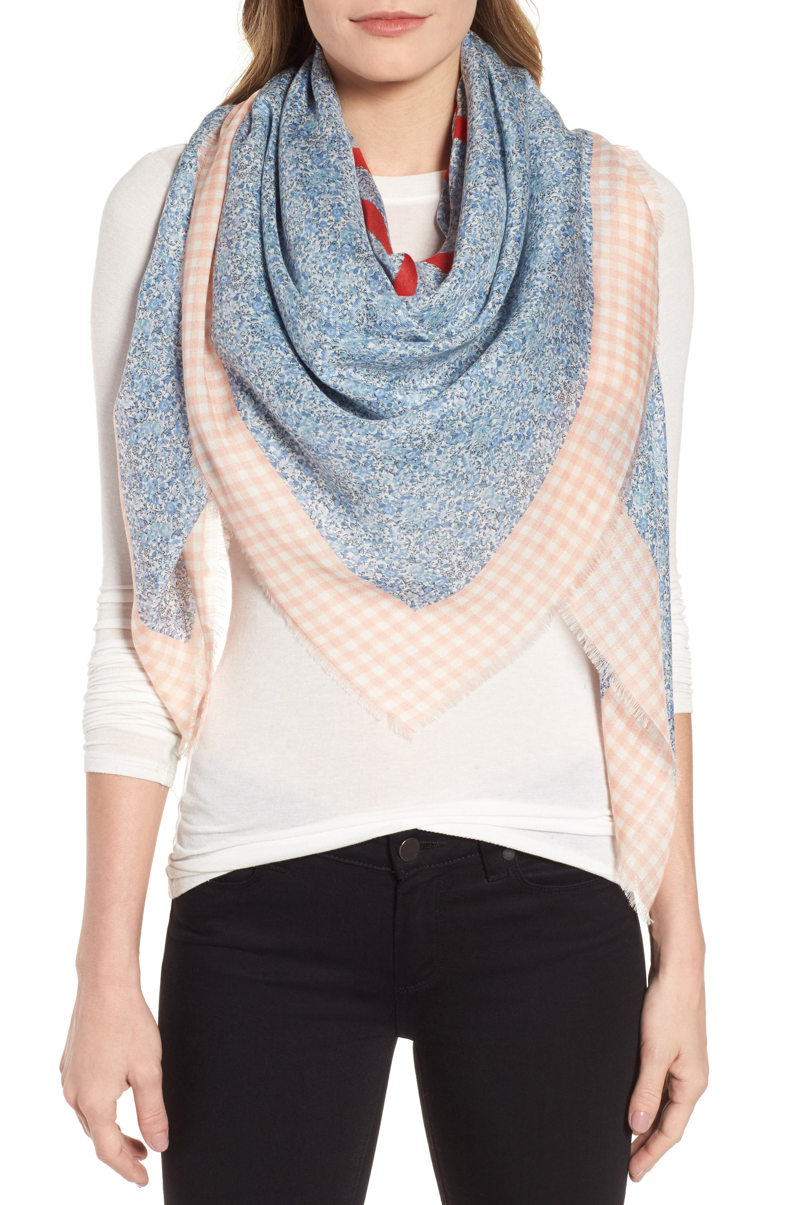 Liberty Gingham Scarf,                             Alternate thumbnail 5, color,                             PINK/ BLUE