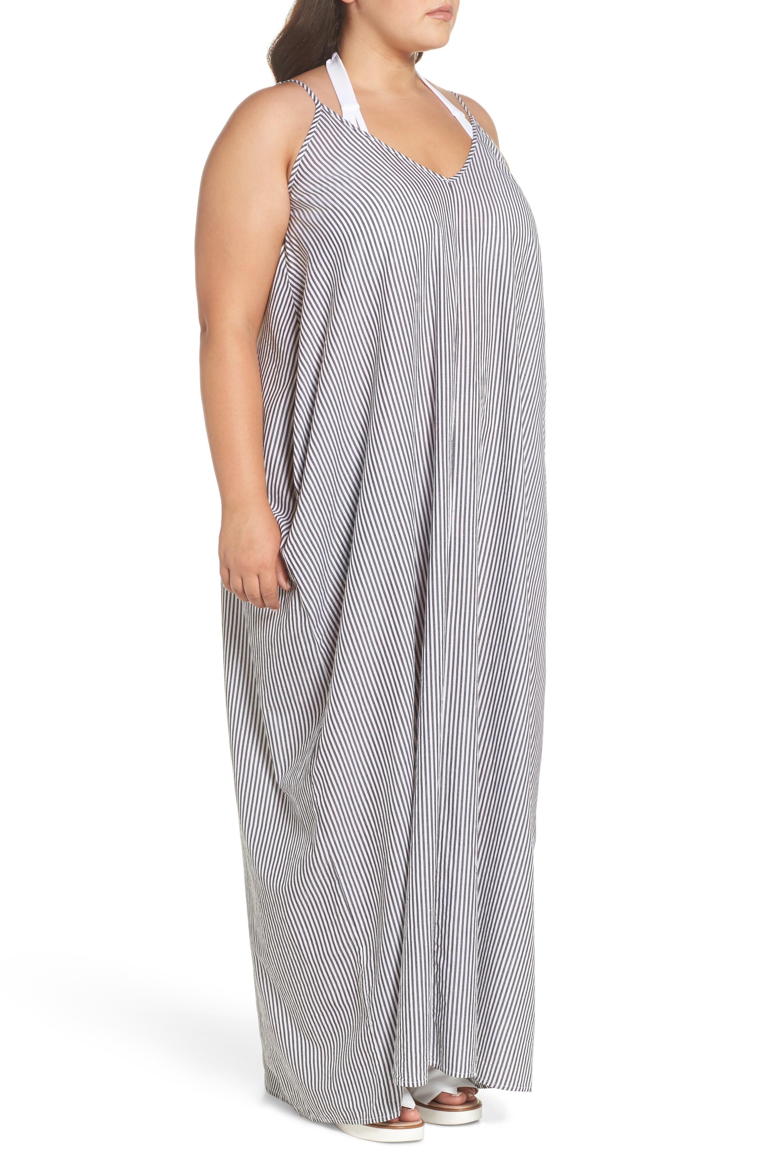 Cover-Up Maxi Dress,                             Alternate thumbnail 3, color,                             BLACK/ WHITE