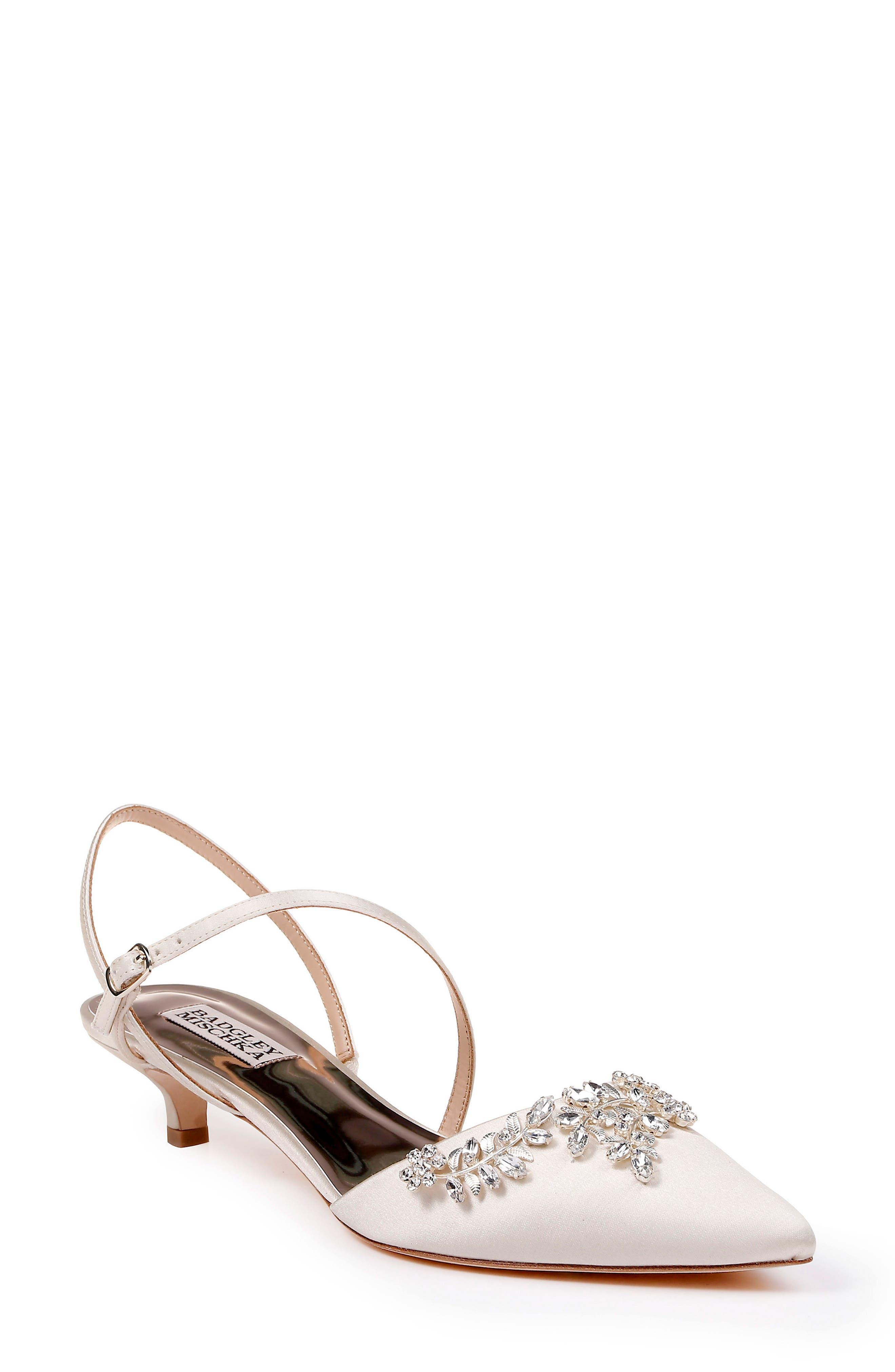 Badgley Mischka Crystal Embellished Quarter Strap Pump, Ivory