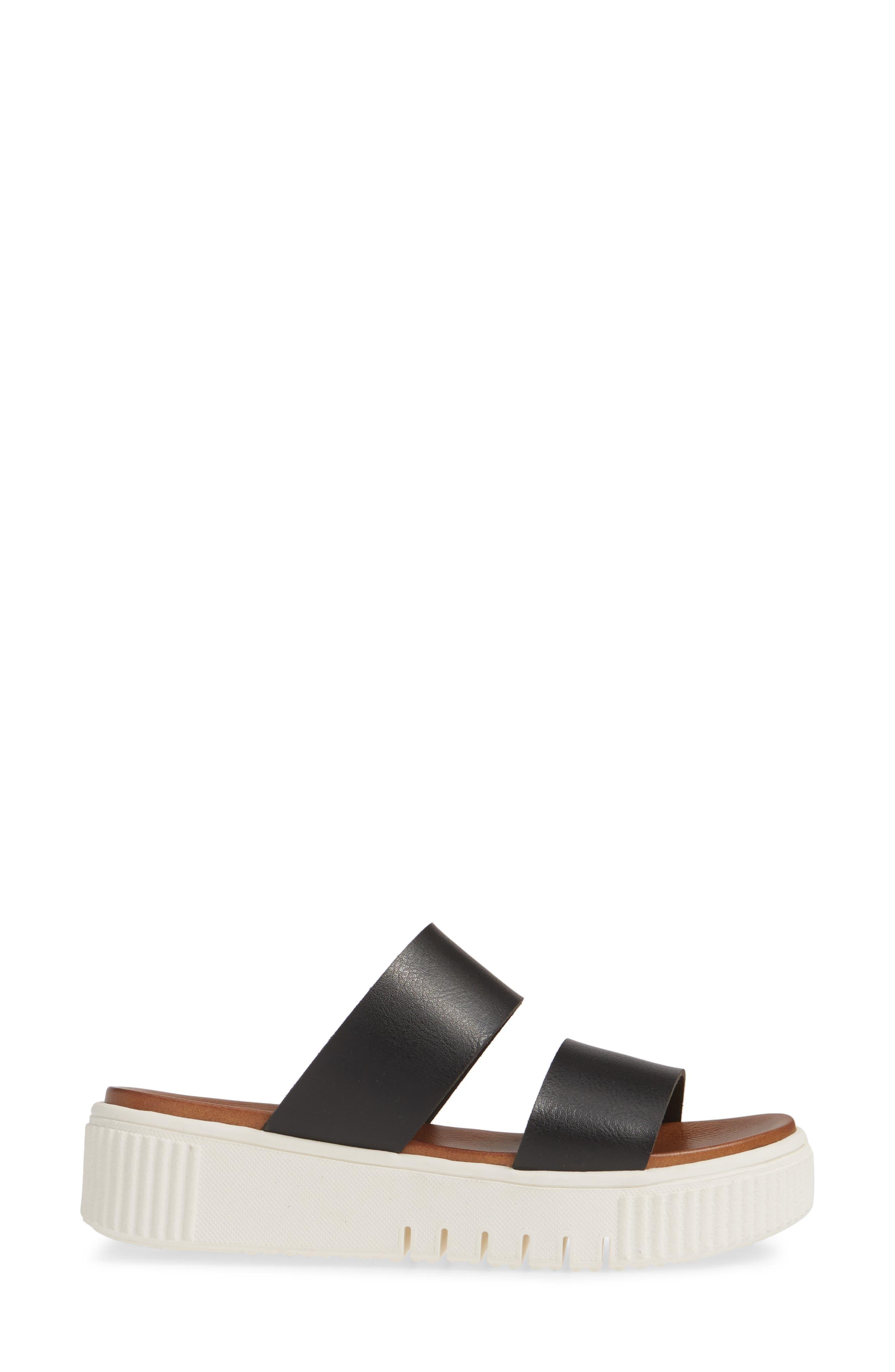MIA,                             Lexi Platform Slide Sandal,                             Alternate thumbnail 3, color,                             BLACK LEATHER