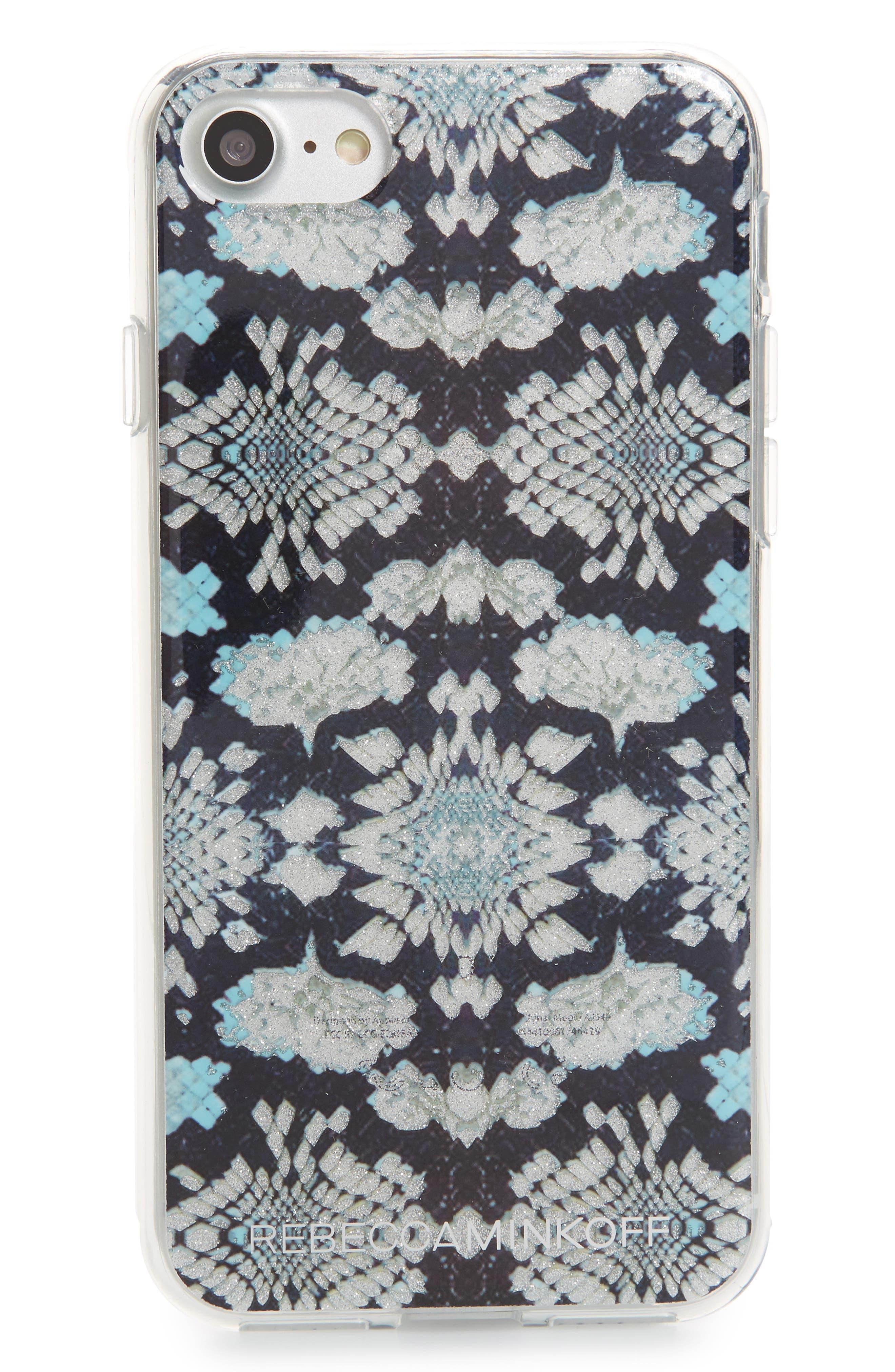 Glitter Snakeskin Print iPhone 7/8 & 7/8 Plus Case,                             Main thumbnail 1, color,