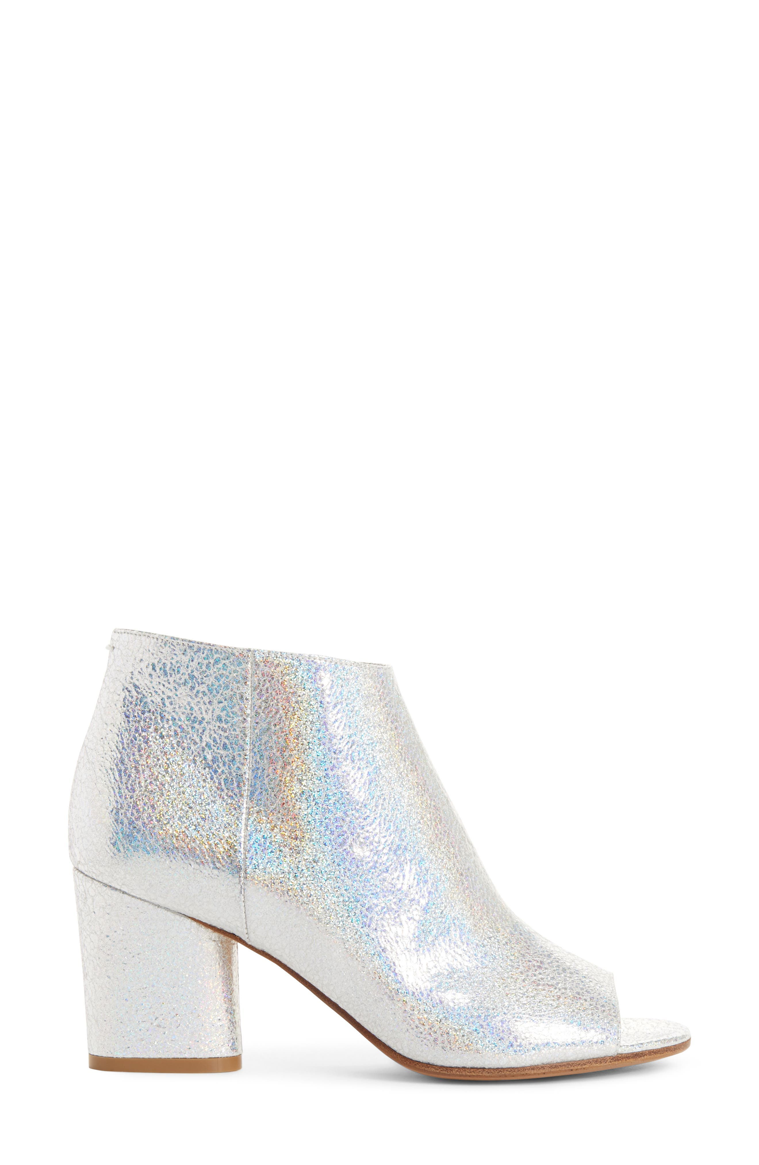 Metallic Open Toe Ankle Boot,                             Alternate thumbnail 3, color,                             040