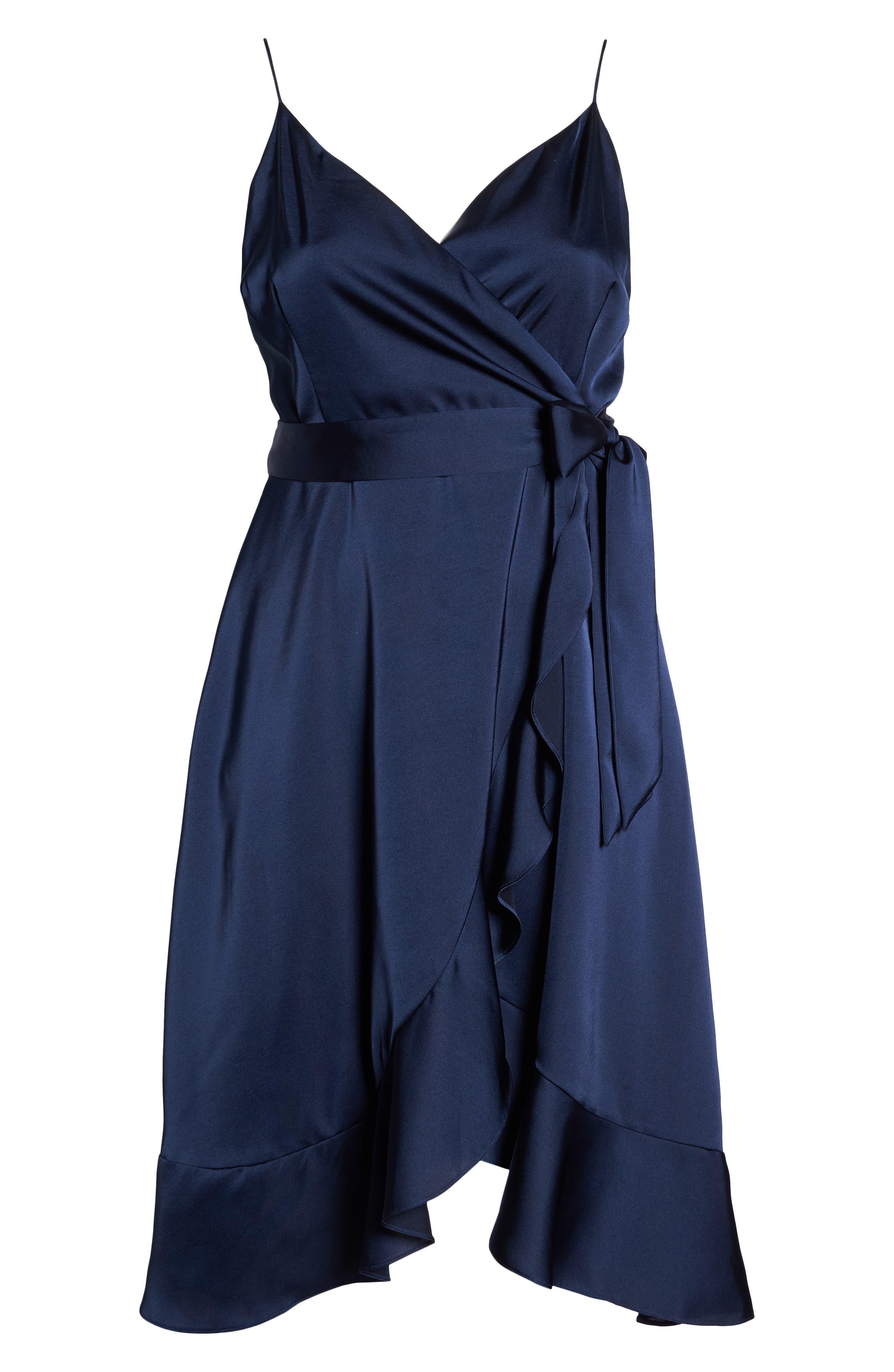 Marilyn Satin Faux Wrap Dress,                             Alternate thumbnail 7, color,                             400