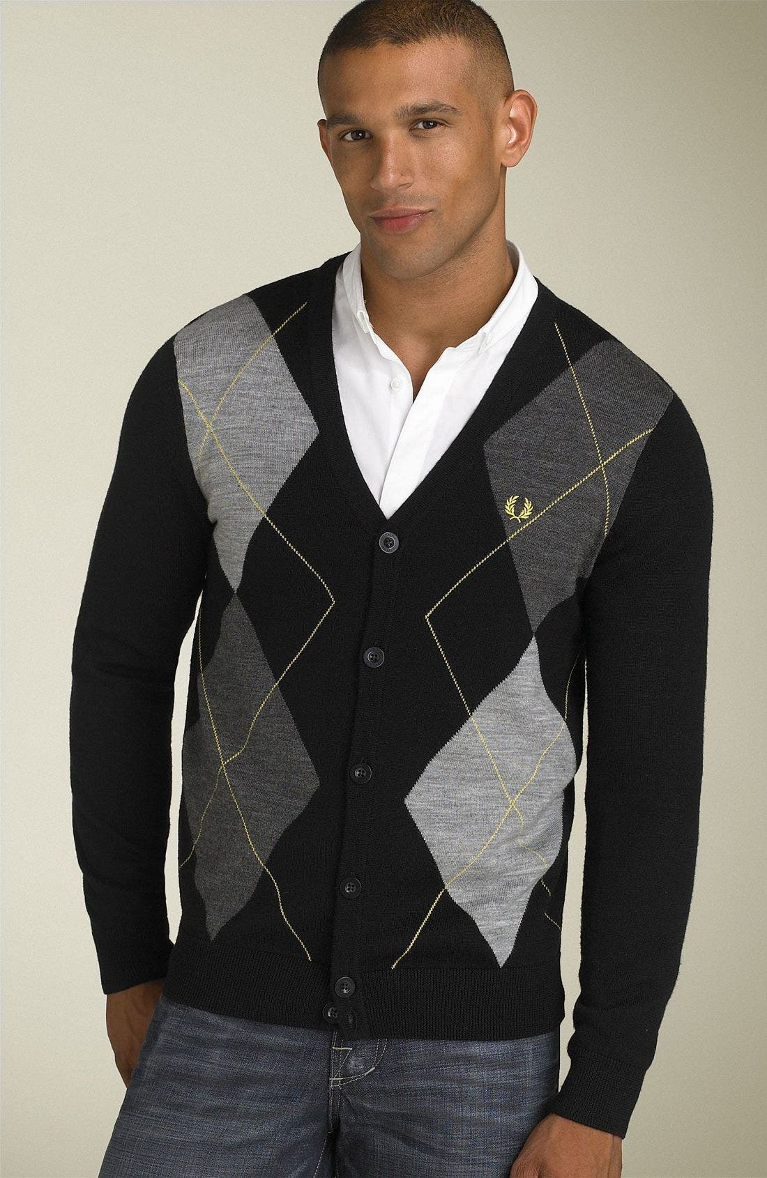 FRED PERRY,                             Argyle Cardigan,                             Main thumbnail 1, color,                             001