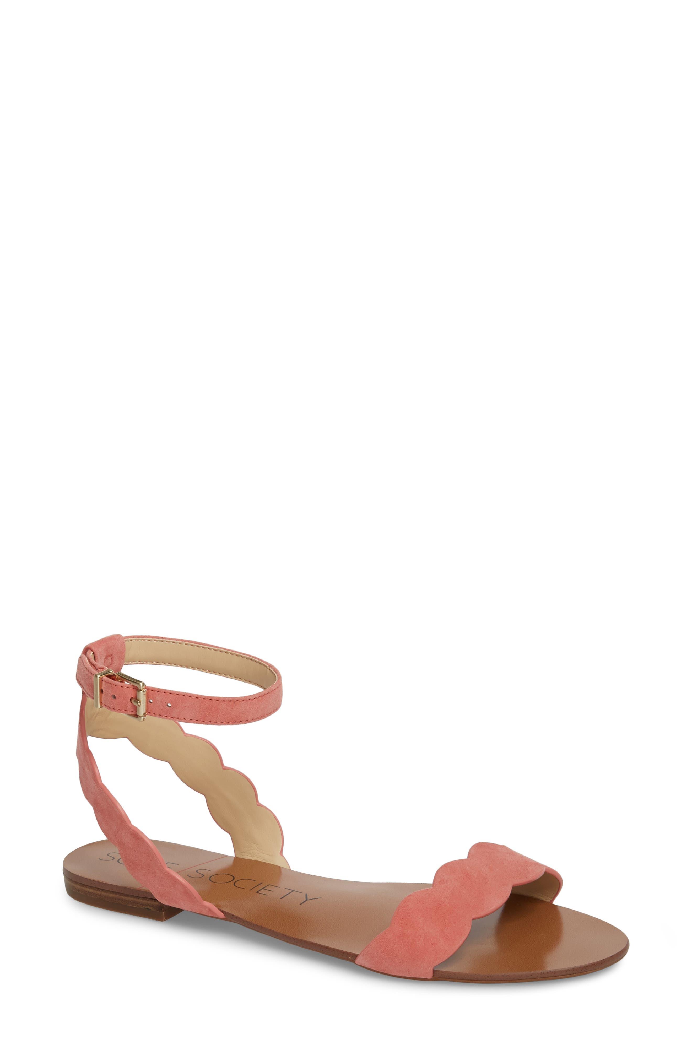 'Odette' Scalloped Ankle Strap Flat Sandal,                             Main thumbnail 2, color,