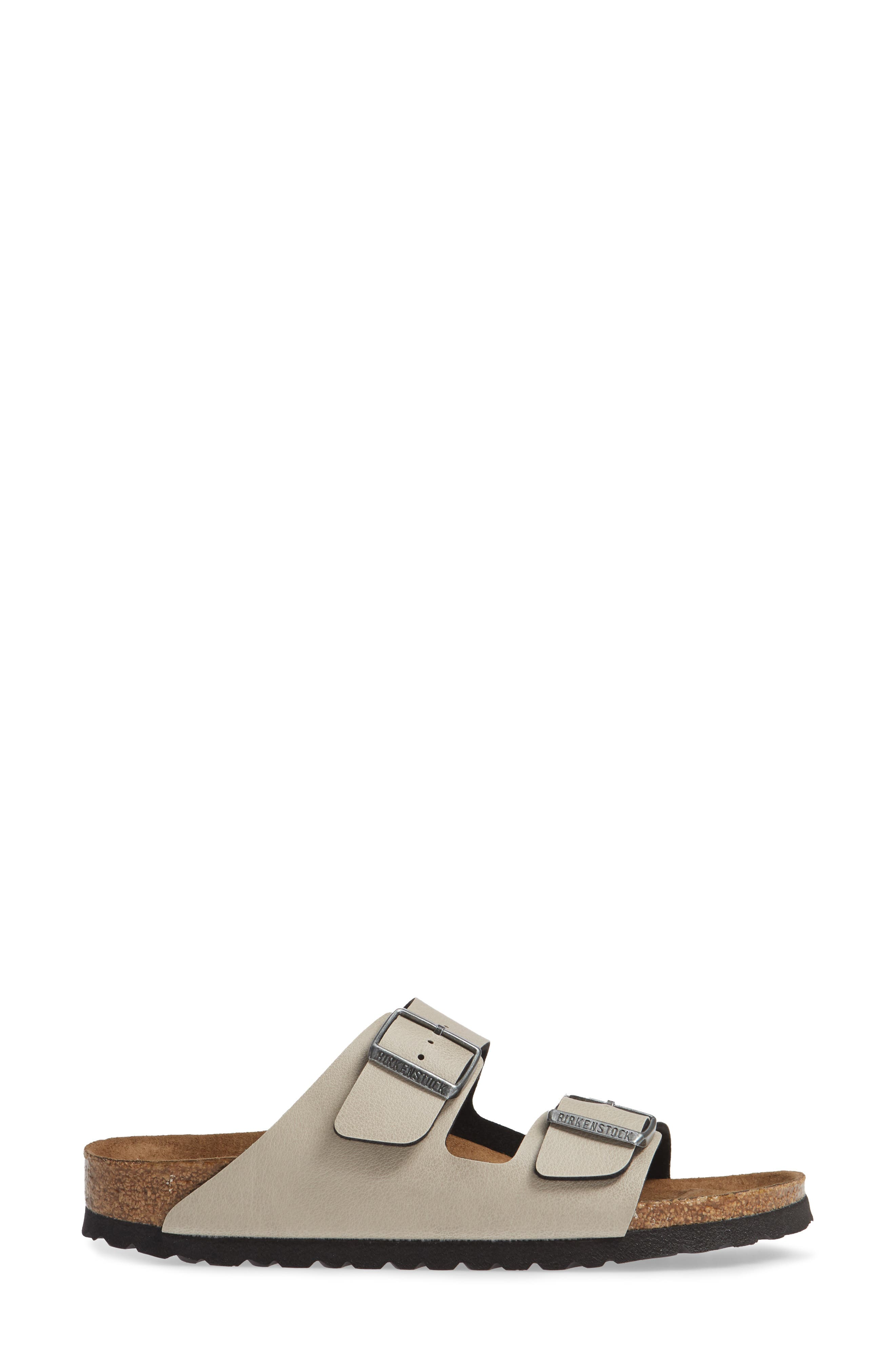 Arizona Birko-Flor<sup>™</sup> Slide Sandal,                             Alternate thumbnail 3, color,                             PULL UP STONE FAUX LEATHER