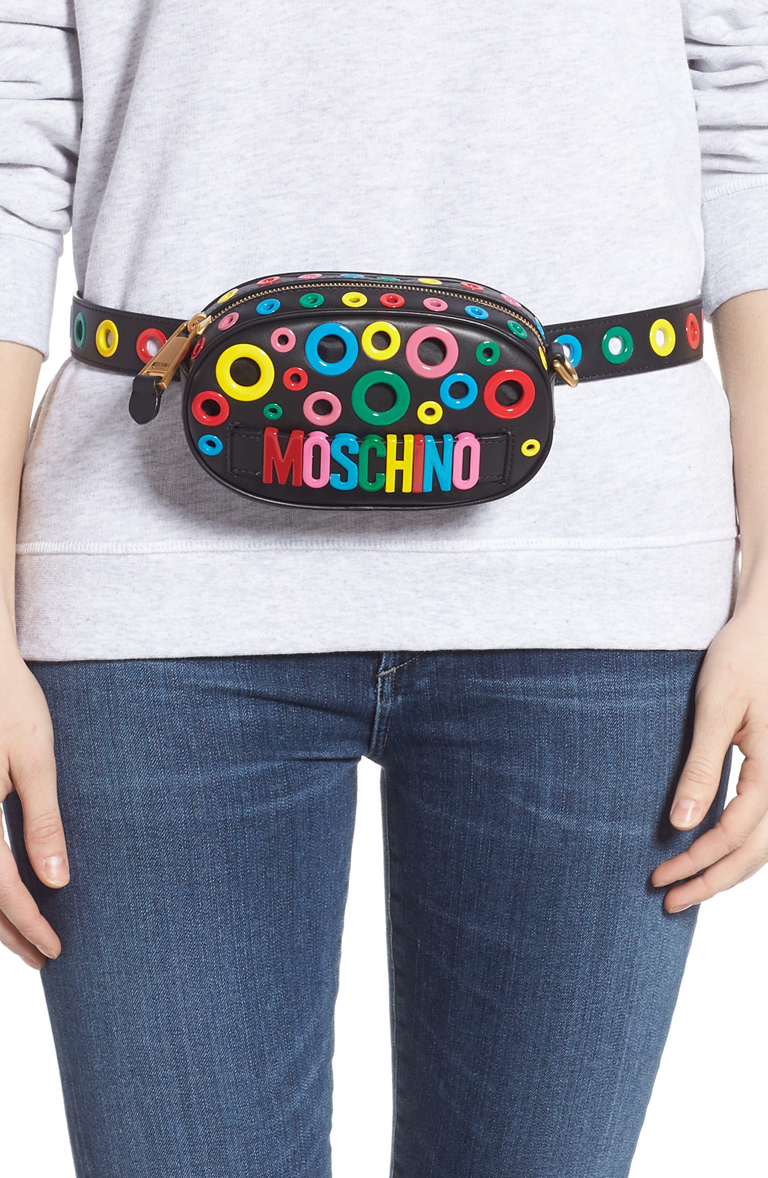 MOSCHINO,                             Multi Grommet Belt Bag,                             Alternate thumbnail 2, color,                             BLACK