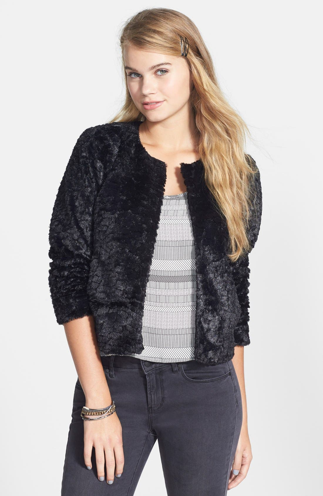 Faux Fur Crop Jacket,                             Main thumbnail 1, color,                             001