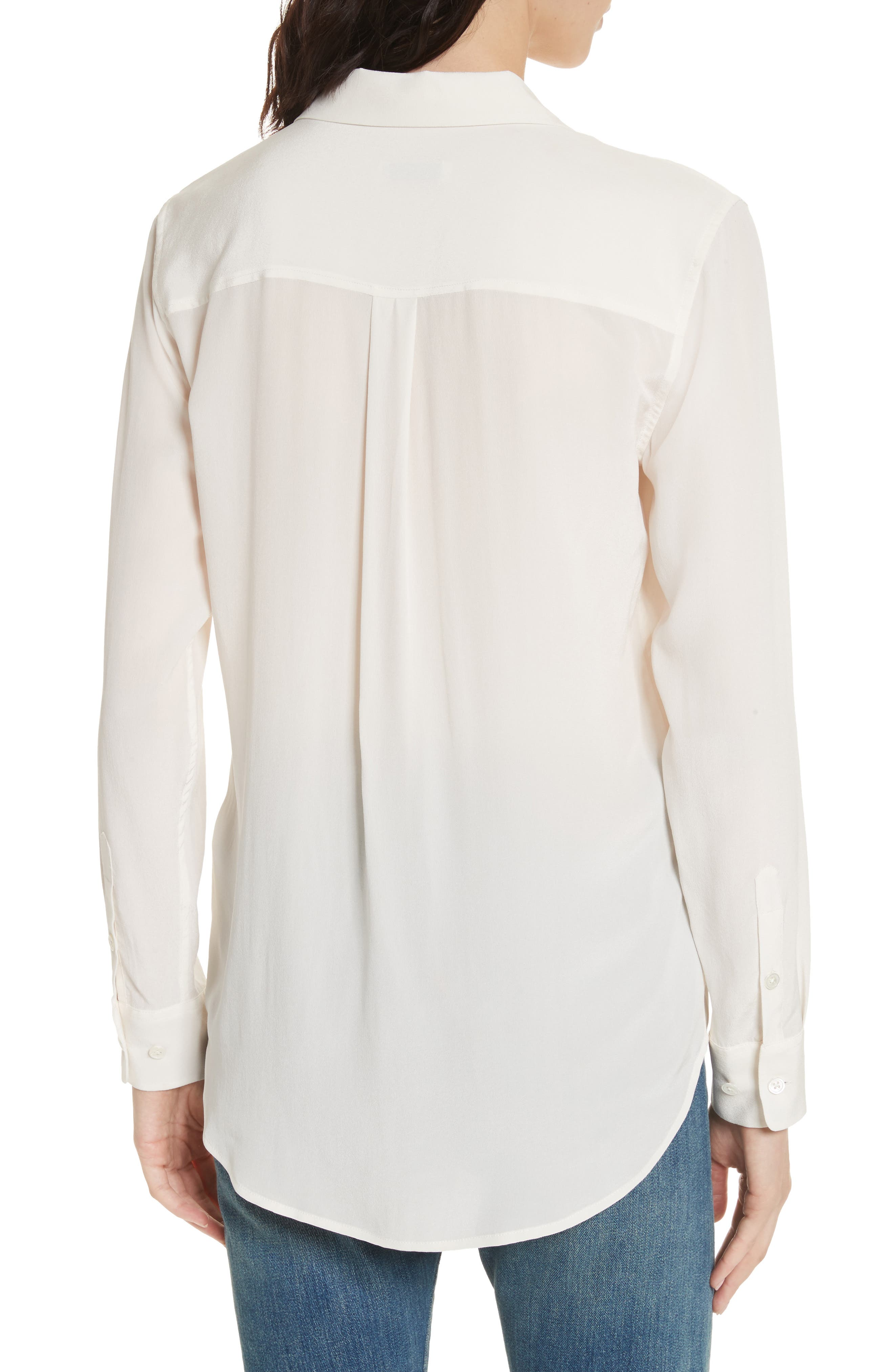 'Slim Signature' Silk Shirt,                             Alternate thumbnail 2, color,                             BRIGHT WHITE