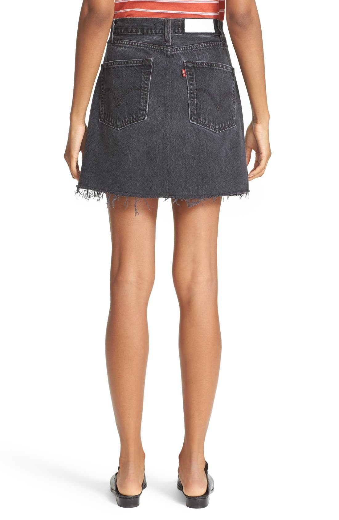 High Waist Repurposed Denim Miniskirt,                             Alternate thumbnail 3, color,                             BLACK