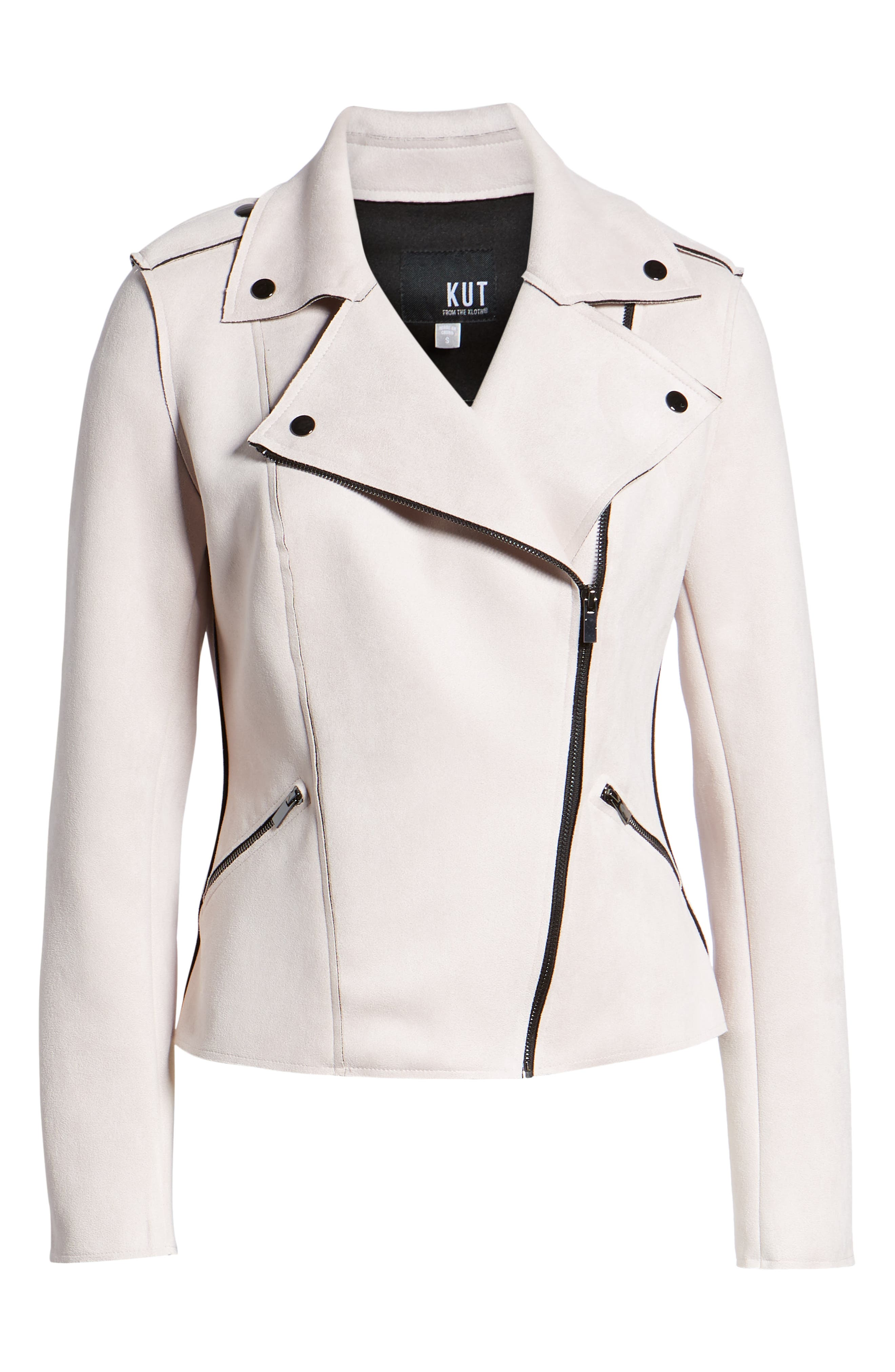 KUT FROM THE KLOTH,                             Haddie Faux Suede Moto Jacket,                             Alternate thumbnail 6, color,                             PALE BLUSH