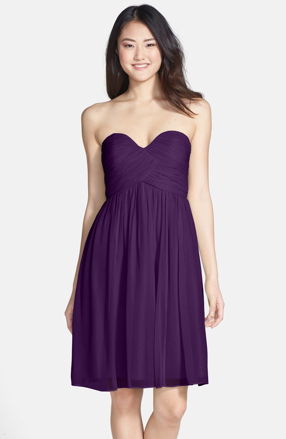 'Morgan' Strapless Silk Chiffon Dress,                             Main thumbnail 21, color,