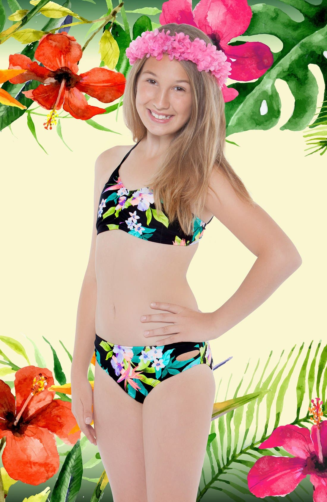 'Paradiso' Print Two-Piece Swimsuit,                             Alternate thumbnail 5, color,                             001