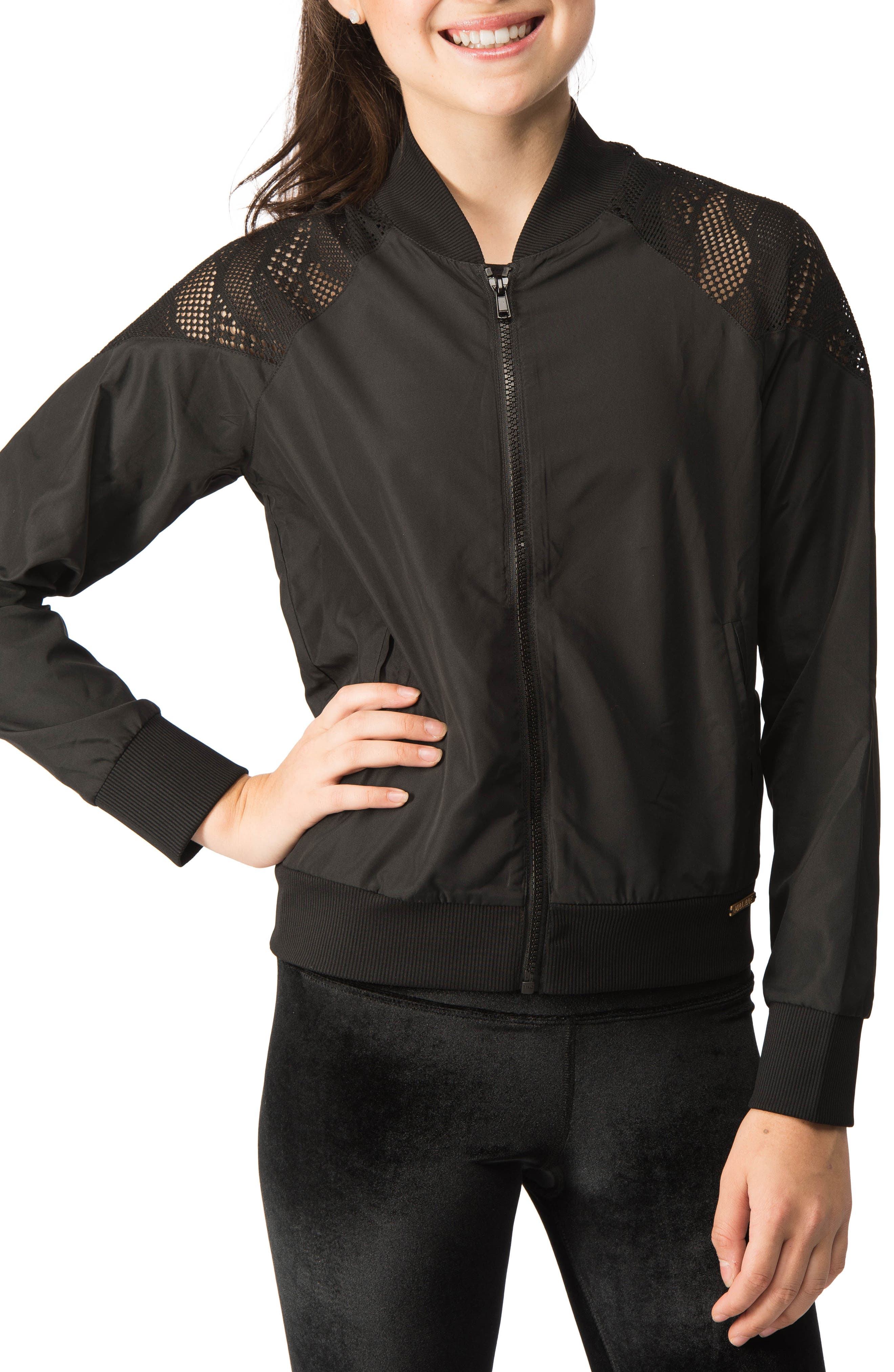 Lace Inset Bomber Jacket,                             Alternate thumbnail 2, color,                             001