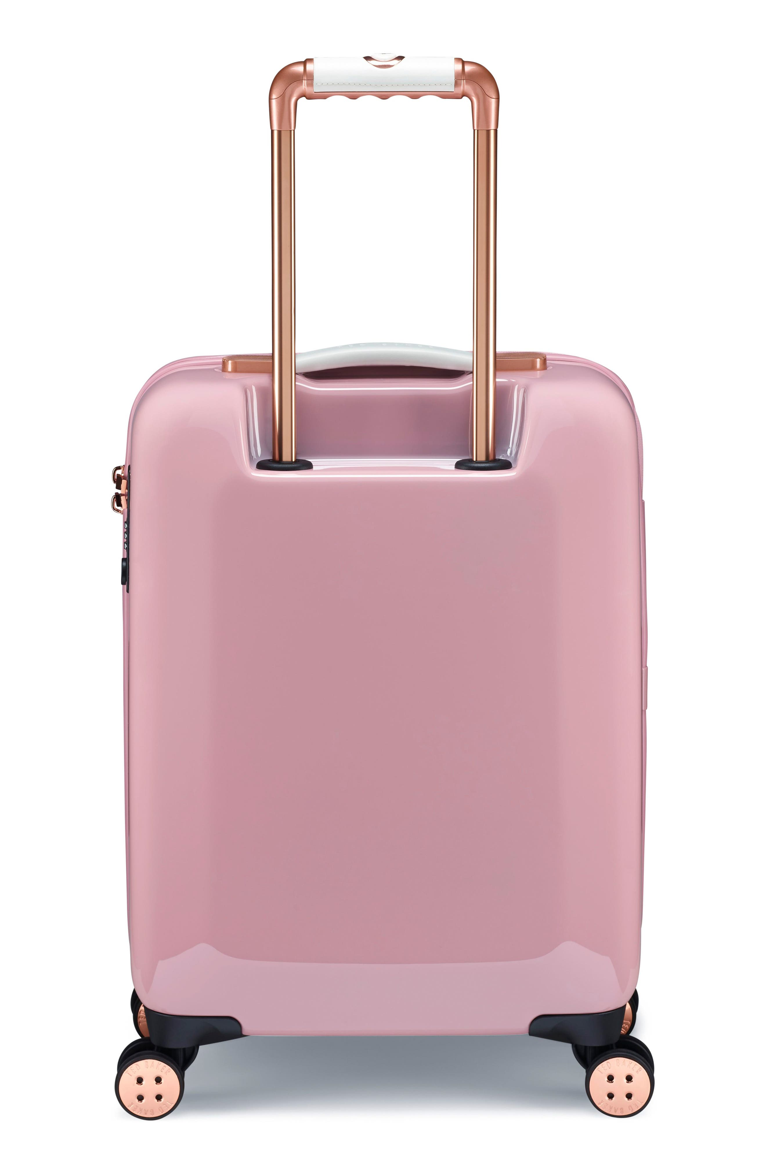 TED BAKER LONDON,                             Small Elegant Print 21-Inch Spinner Carry-On,                             Alternate thumbnail 4, color,                             PINK