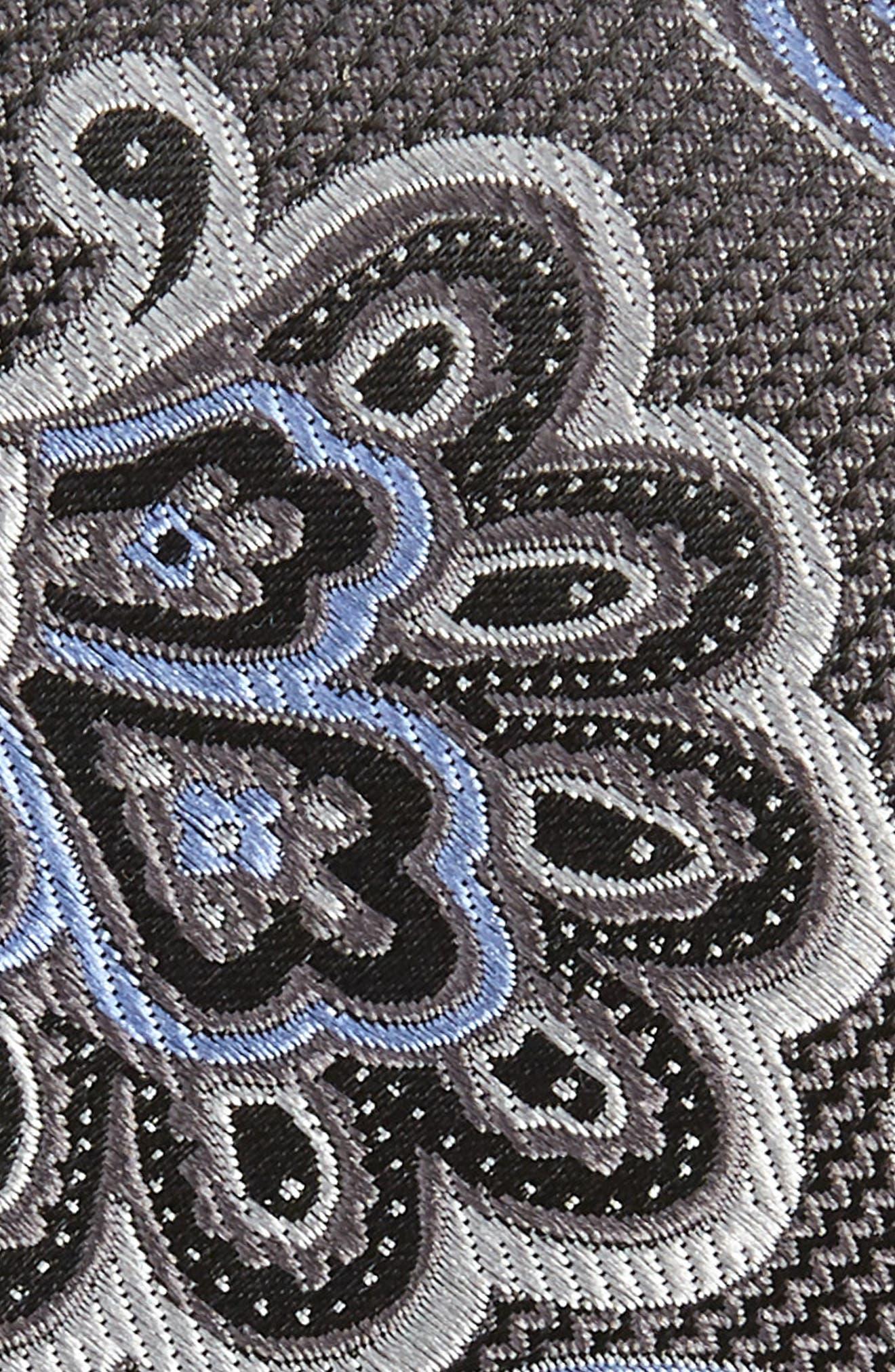 Bryce Paisley Silk Tie,                             Alternate thumbnail 2, color,                             GREY