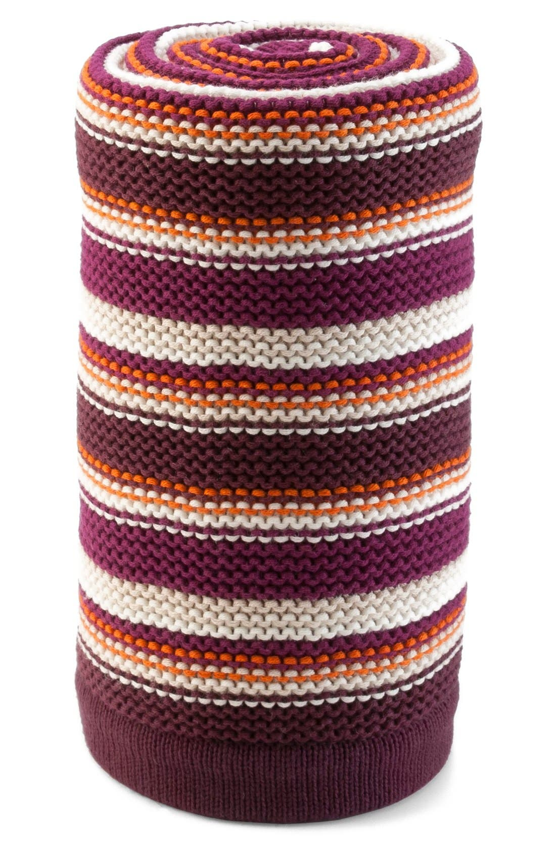 Baby Stroller Knit Blanket,                             Main thumbnail 1, color,                             PURPLE/ ORANGE