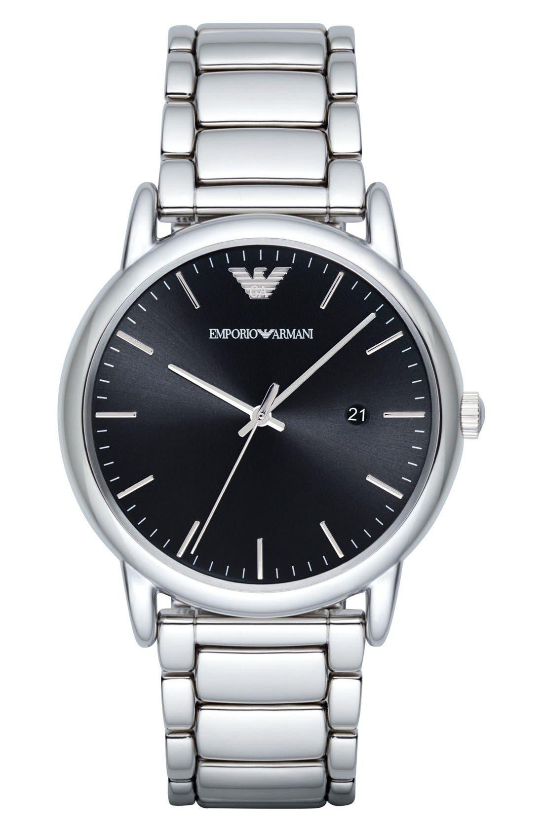 Bracelet Watch, 43mm,                             Main thumbnail 1, color,                             SILVER/ BLACK