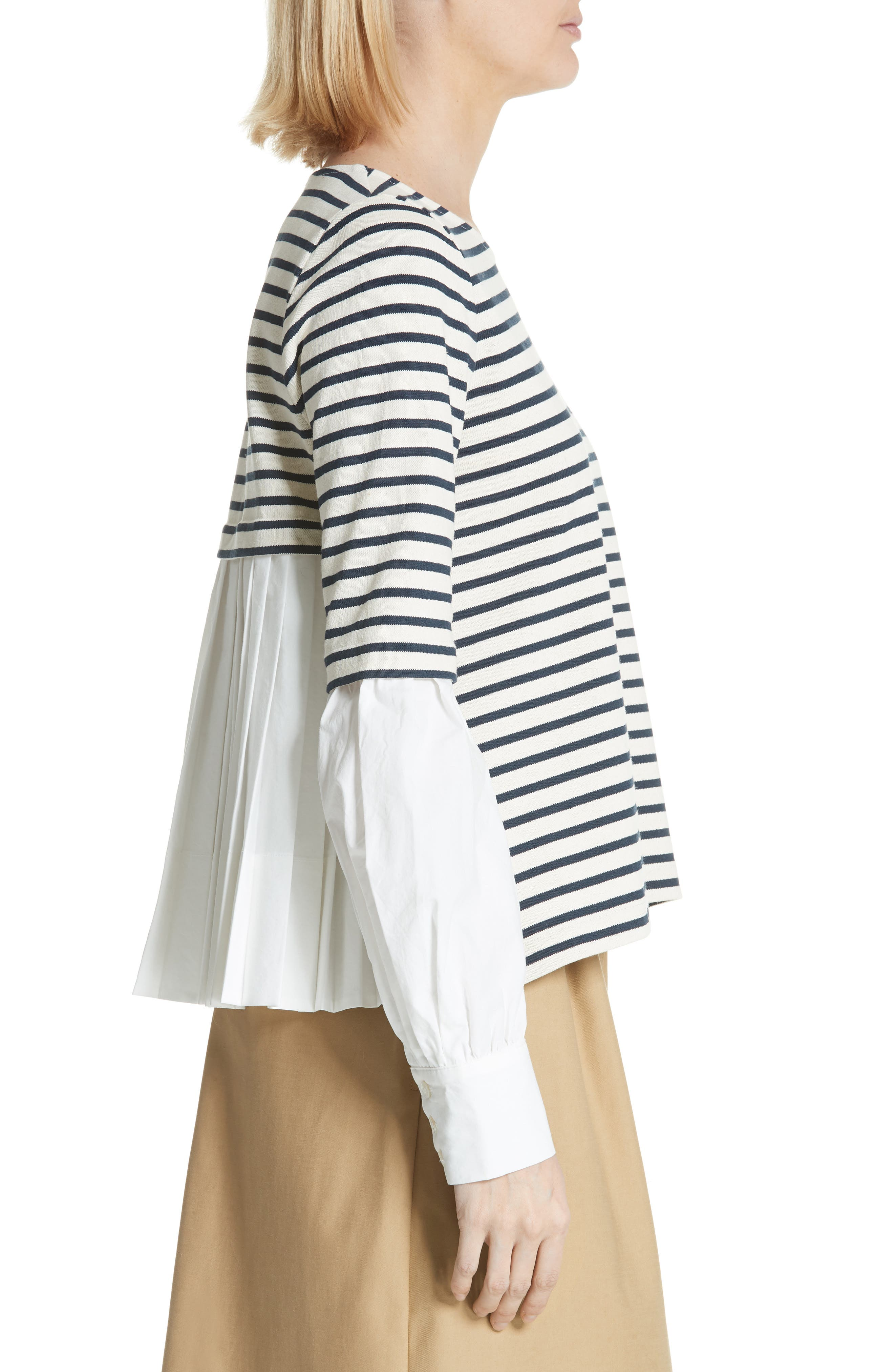 Levine Mixed Media Top,                             Alternate thumbnail 3, color,                             CREAM/ NAVY STRIPE