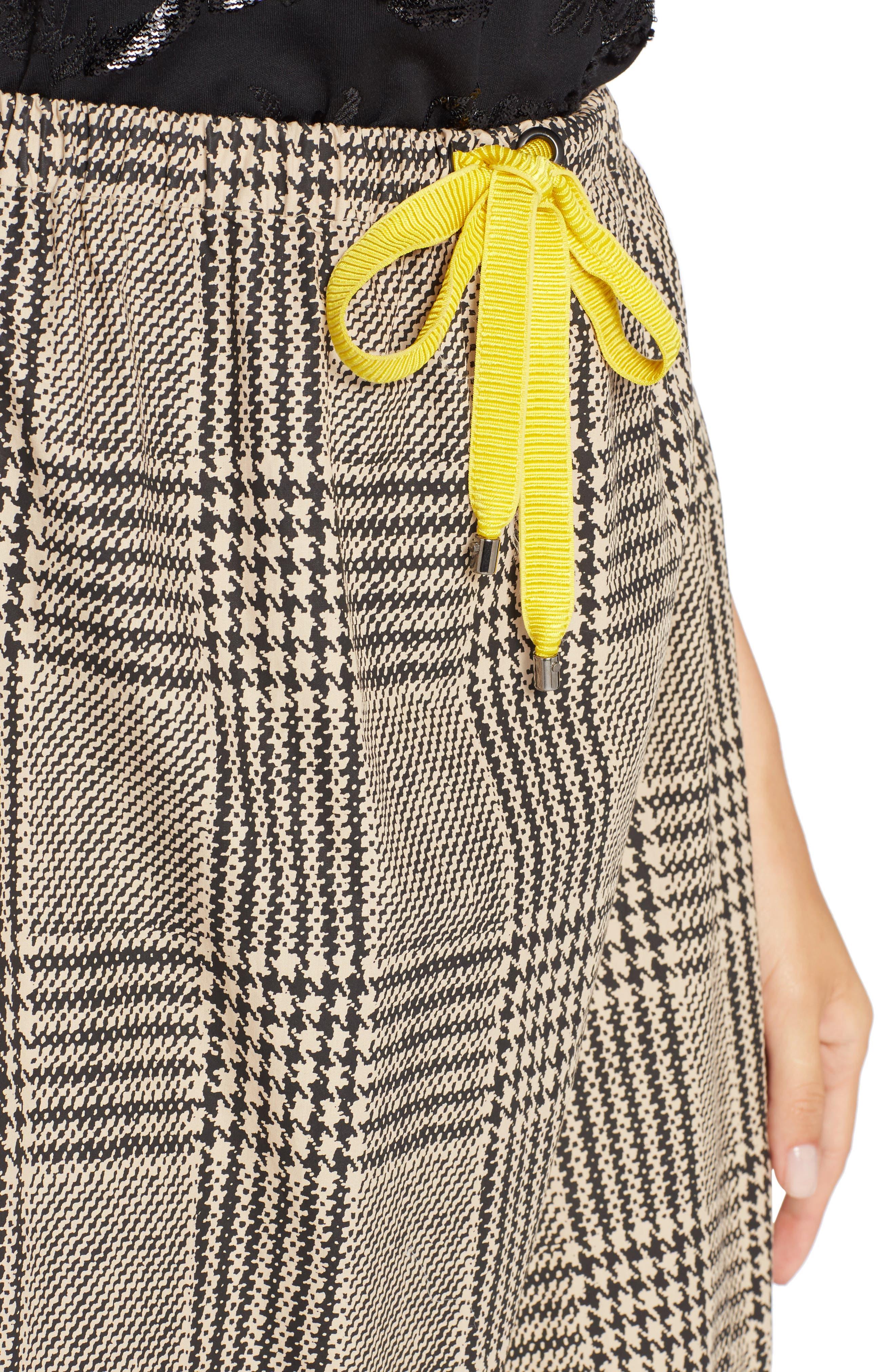 Prince of Wales Ruffle Midi Skirt,                             Alternate thumbnail 4, color,                             001