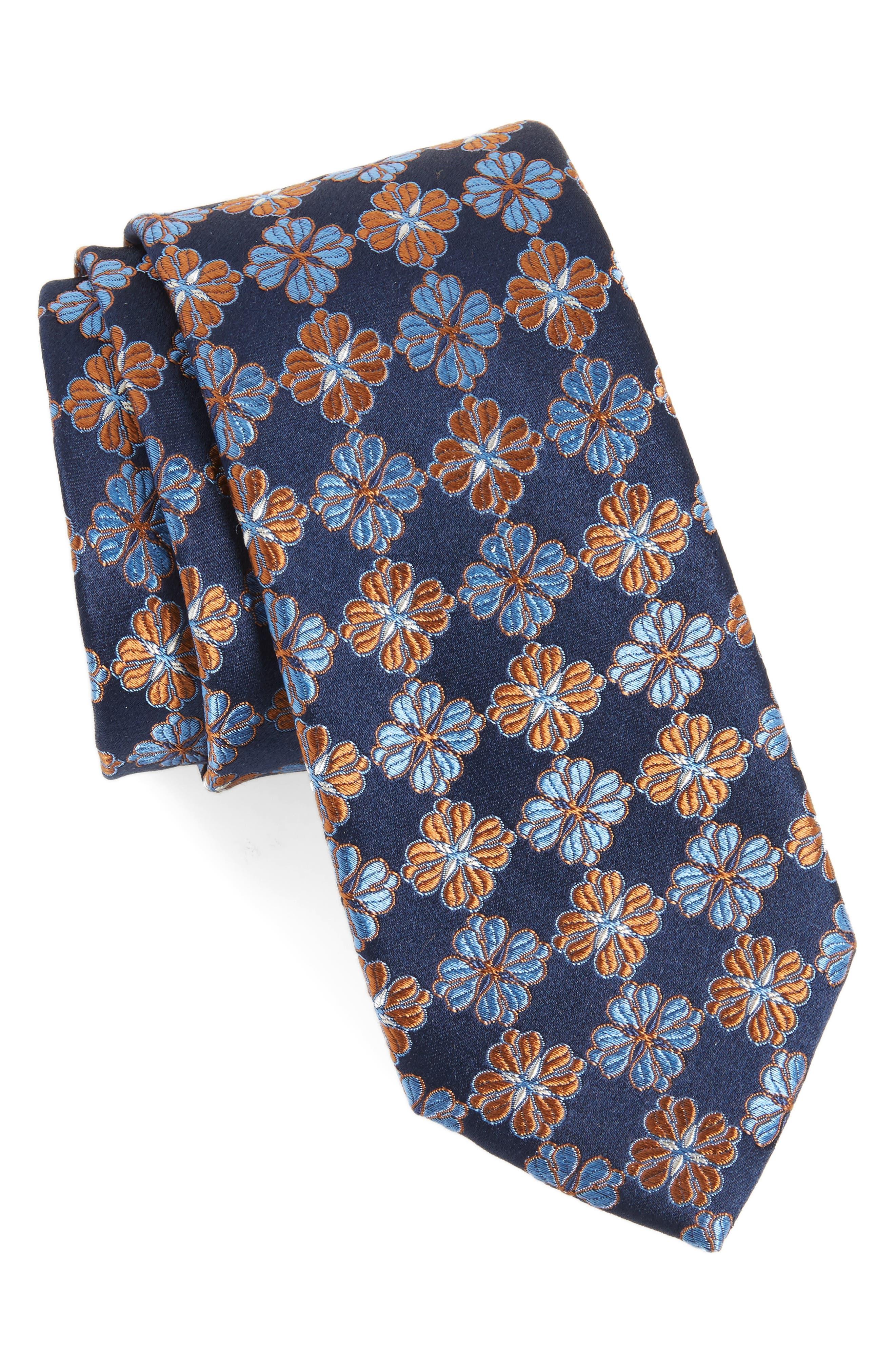 Cole Floral Silk Tie,                         Main,                         color, NAVY