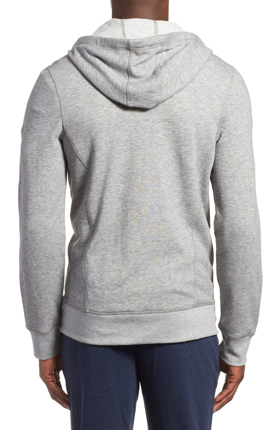 'Terry' Cotton Blend Zip Hoodie,                             Alternate thumbnail 3, color,                             LIGHT GREY HEATHER