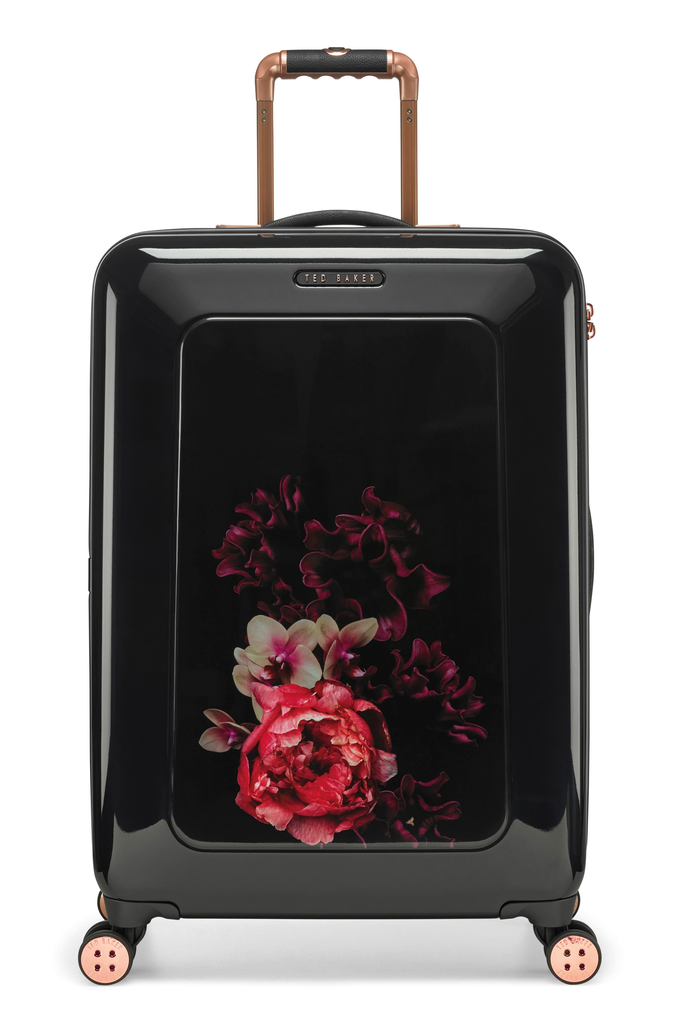 Medium Splendour Print 28-Inch Hard Shell Spinner Suitcase,                             Main thumbnail 1, color,                             BLACK