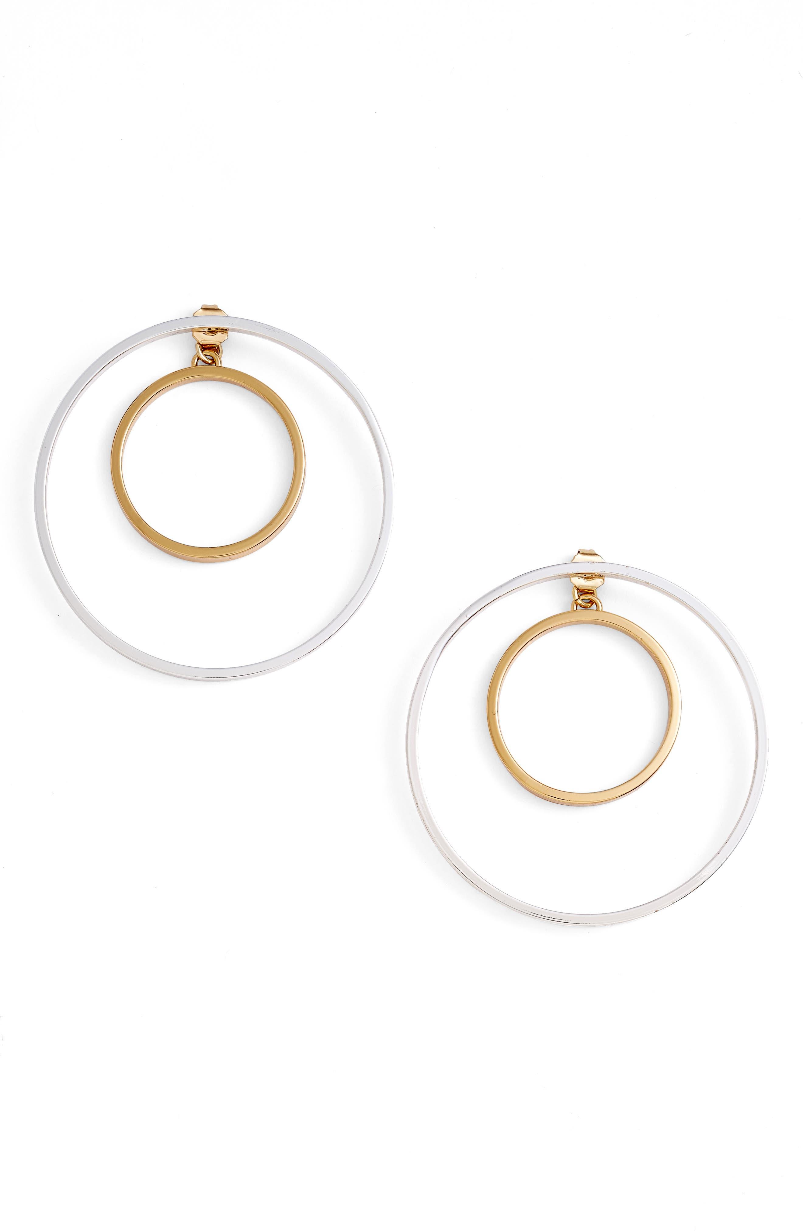 Rise Hoop Earrings,                         Main,                         color, TWO TONE