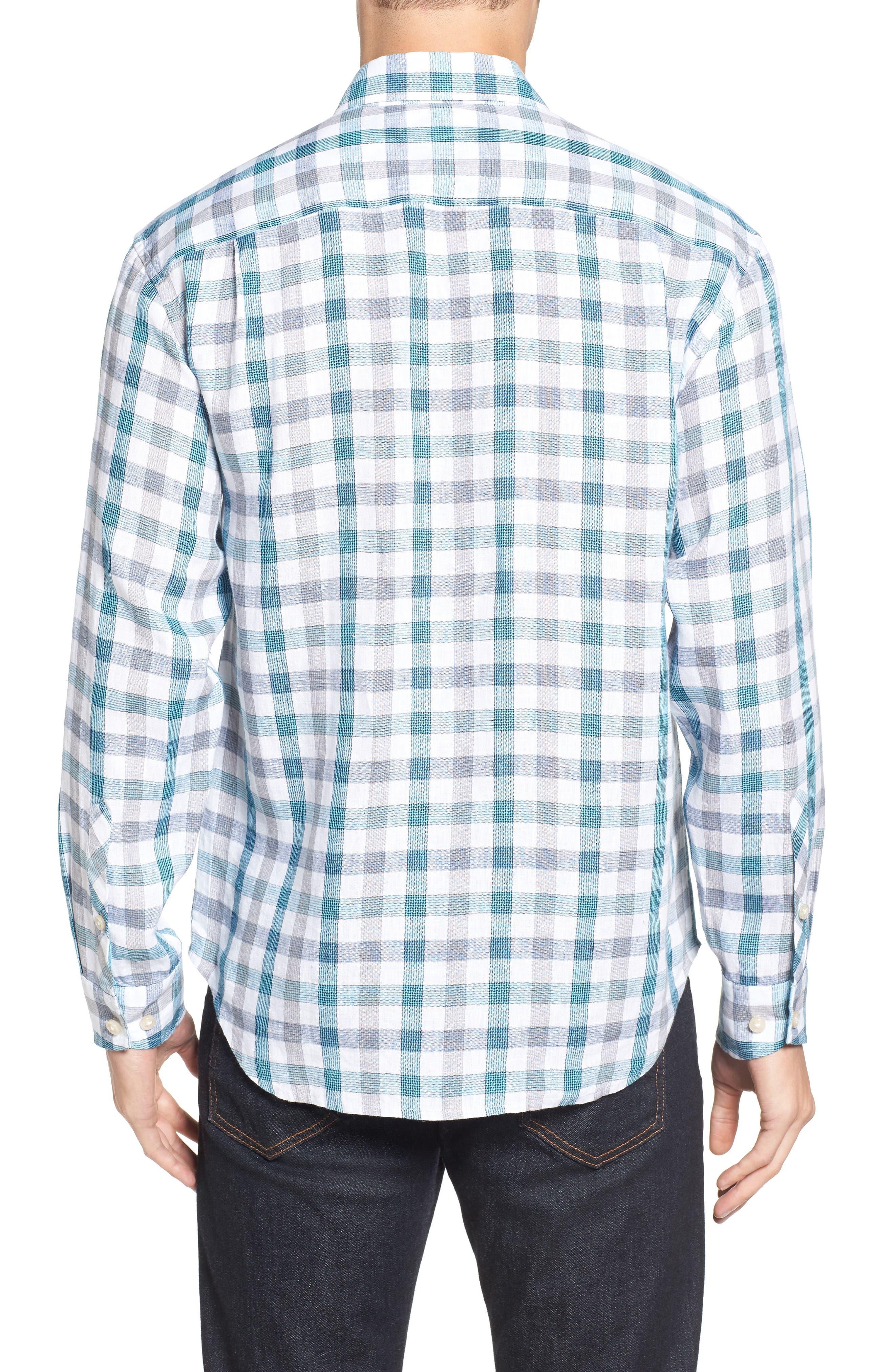 Thira Check Linen Sport Shirt,                             Alternate thumbnail 2, color,