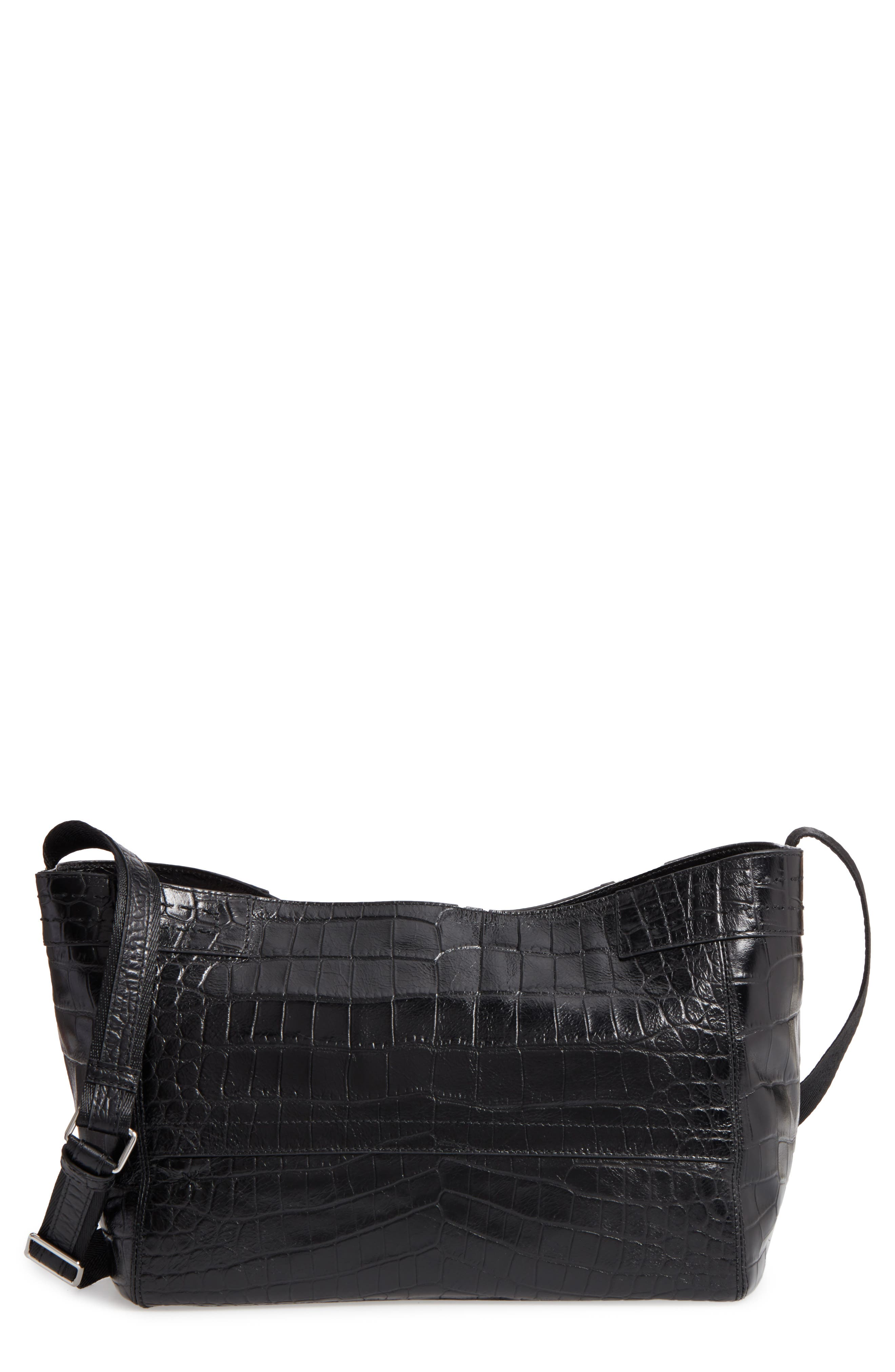 Mini Keely Newspaper Croc Embossed Leather Shoulder/Crossbody Bag,                             Main thumbnail 1, color,                             001